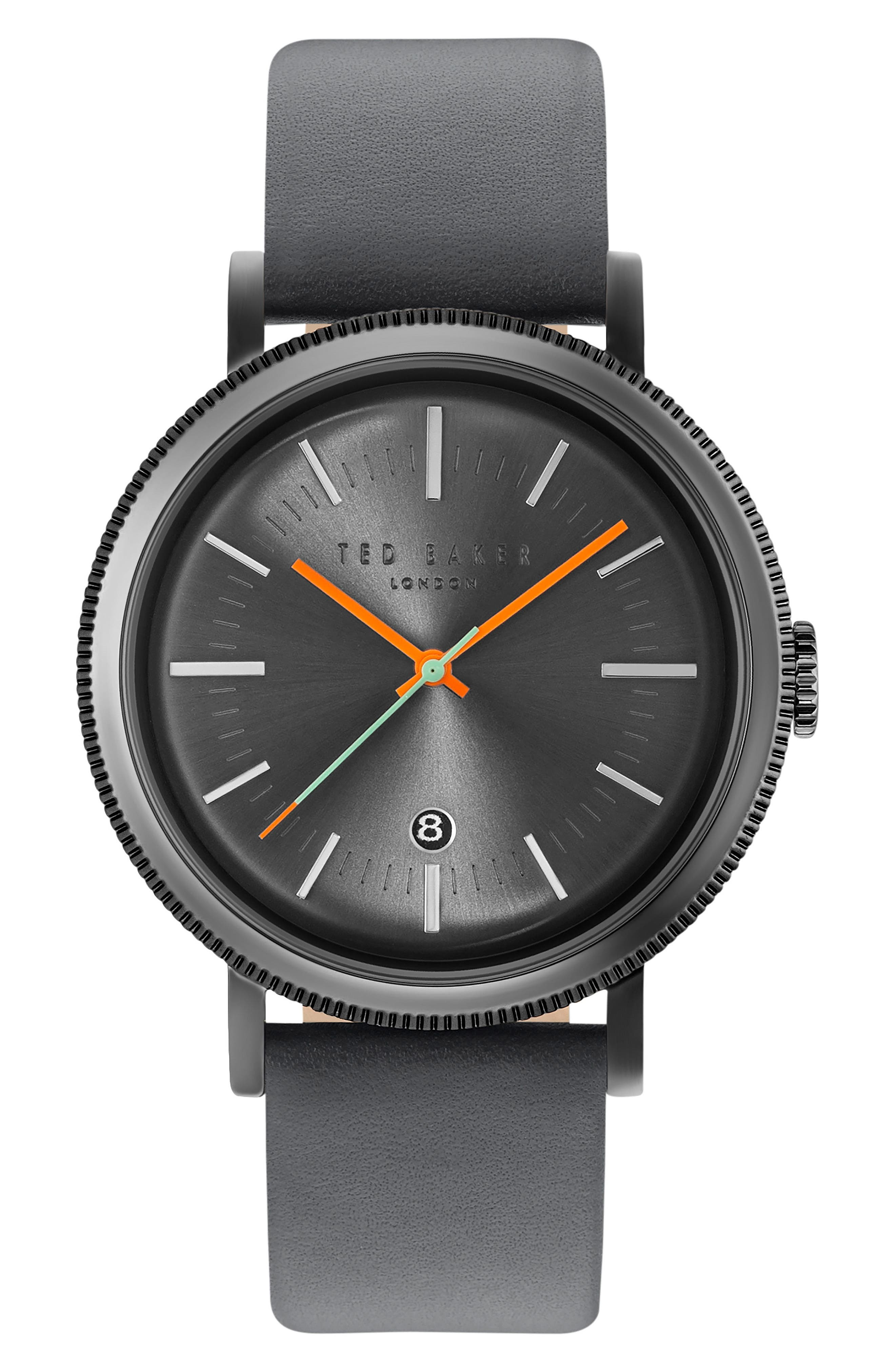 Ted Baker London Connor Leather Strap Watch, 42mm