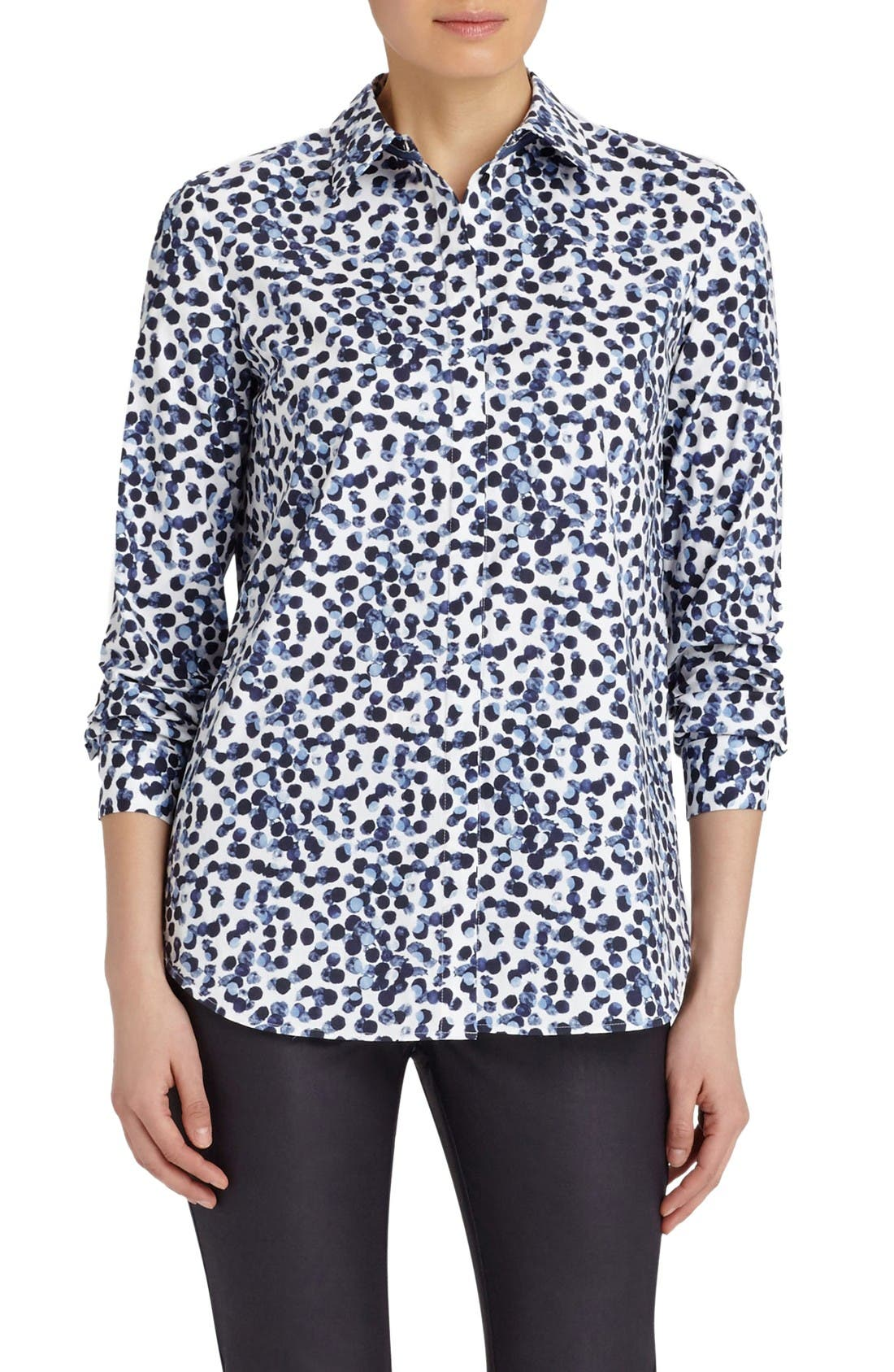 Lafayette 148 New York Brody Print Stretch Cotton Blouse