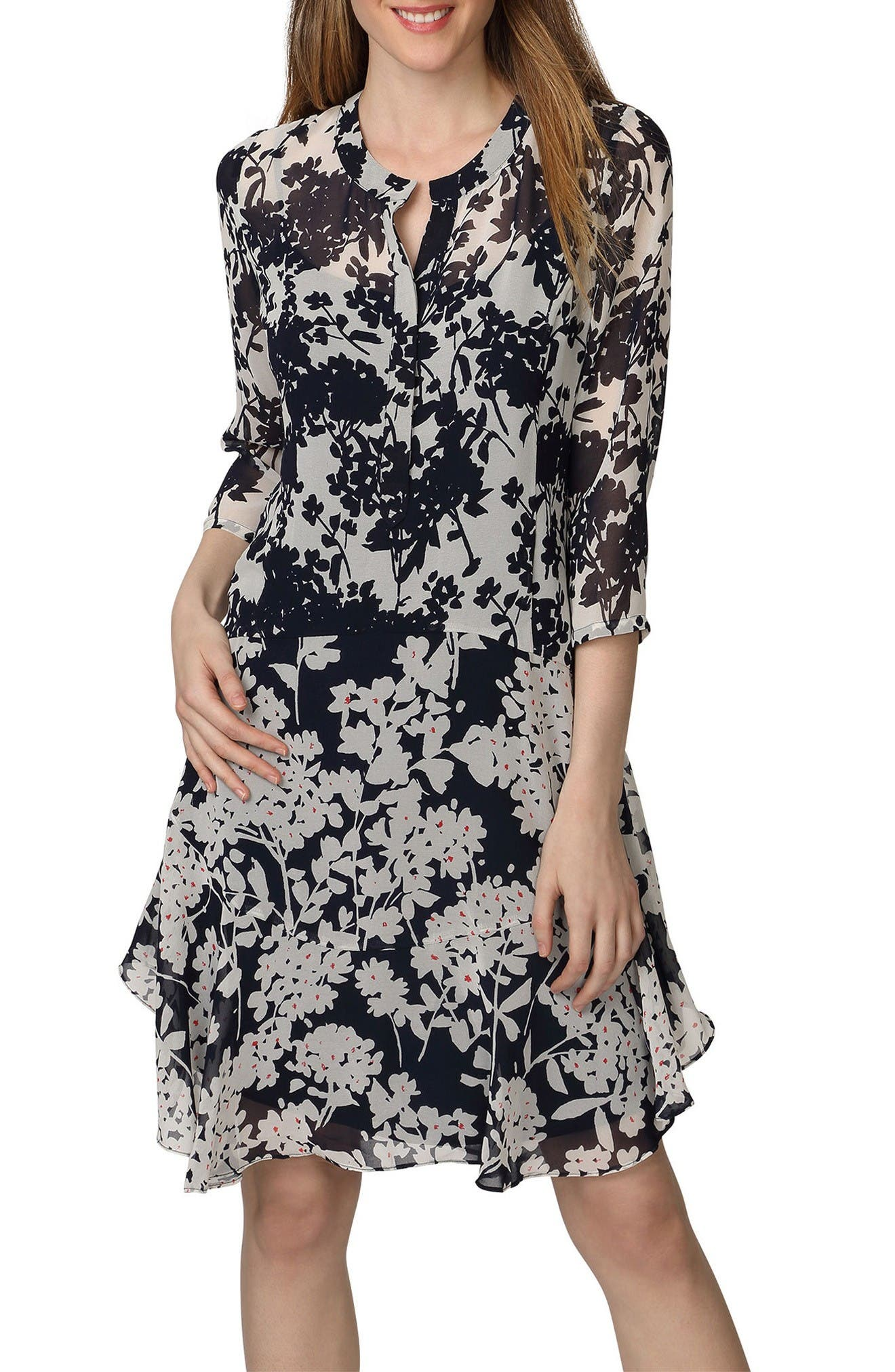 Donna Morgan Mix Print Chiffon A-Line Dress