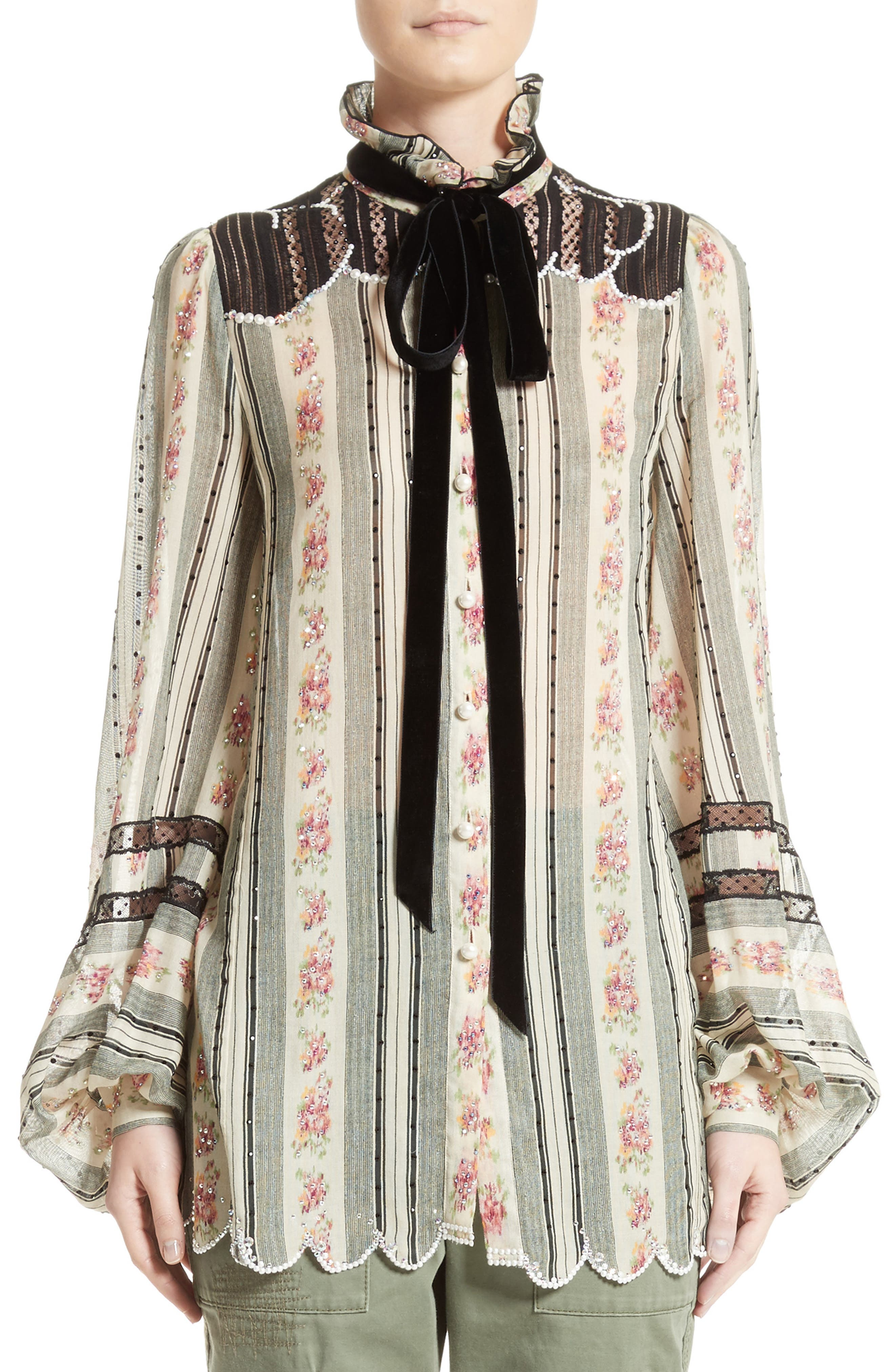 MARC JACOBS Embellished Brocade Print Blouse