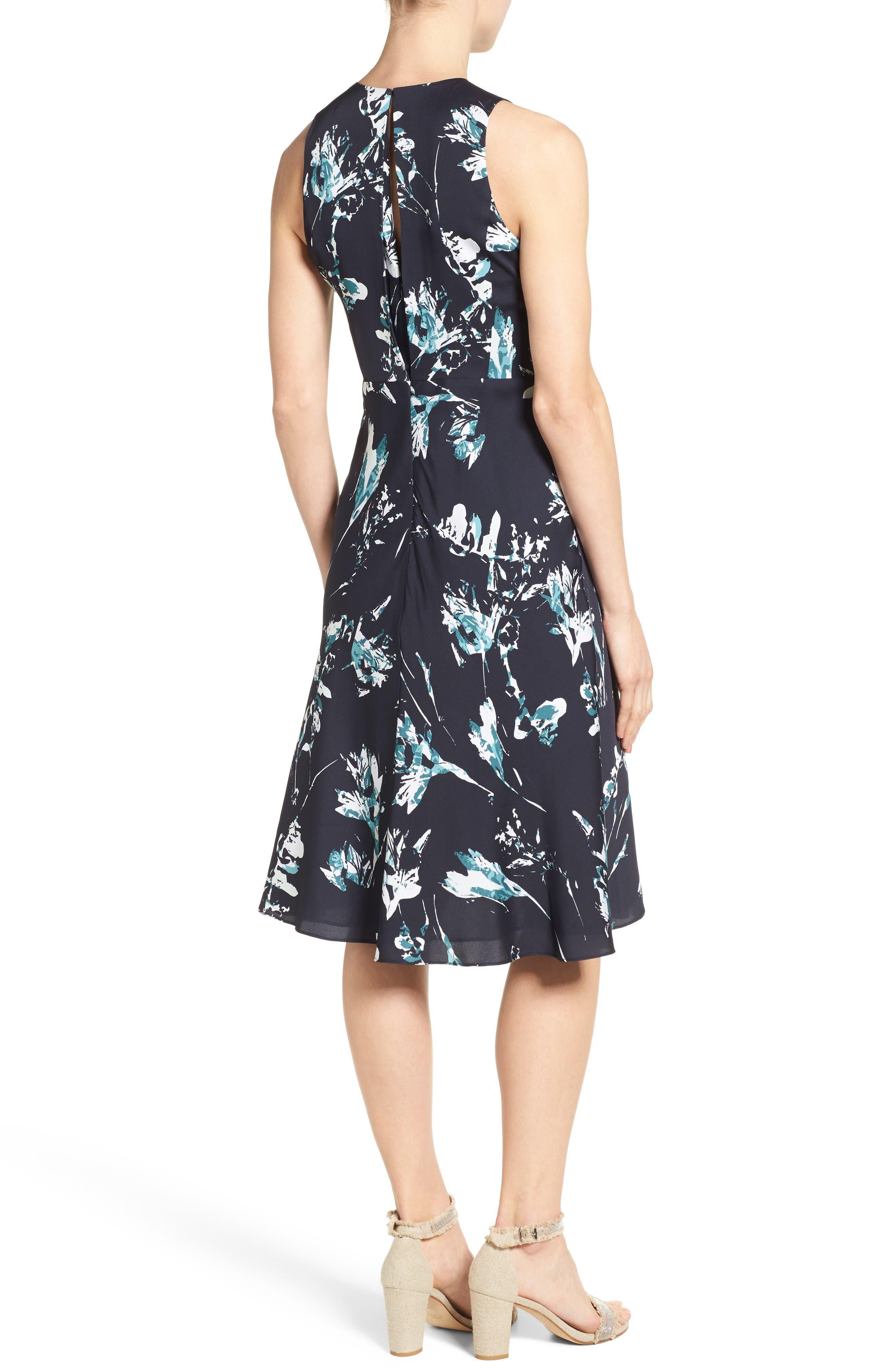 Alternate Image 2  - Classiques Entier® Print Stretch Silk Twist Neck Dress