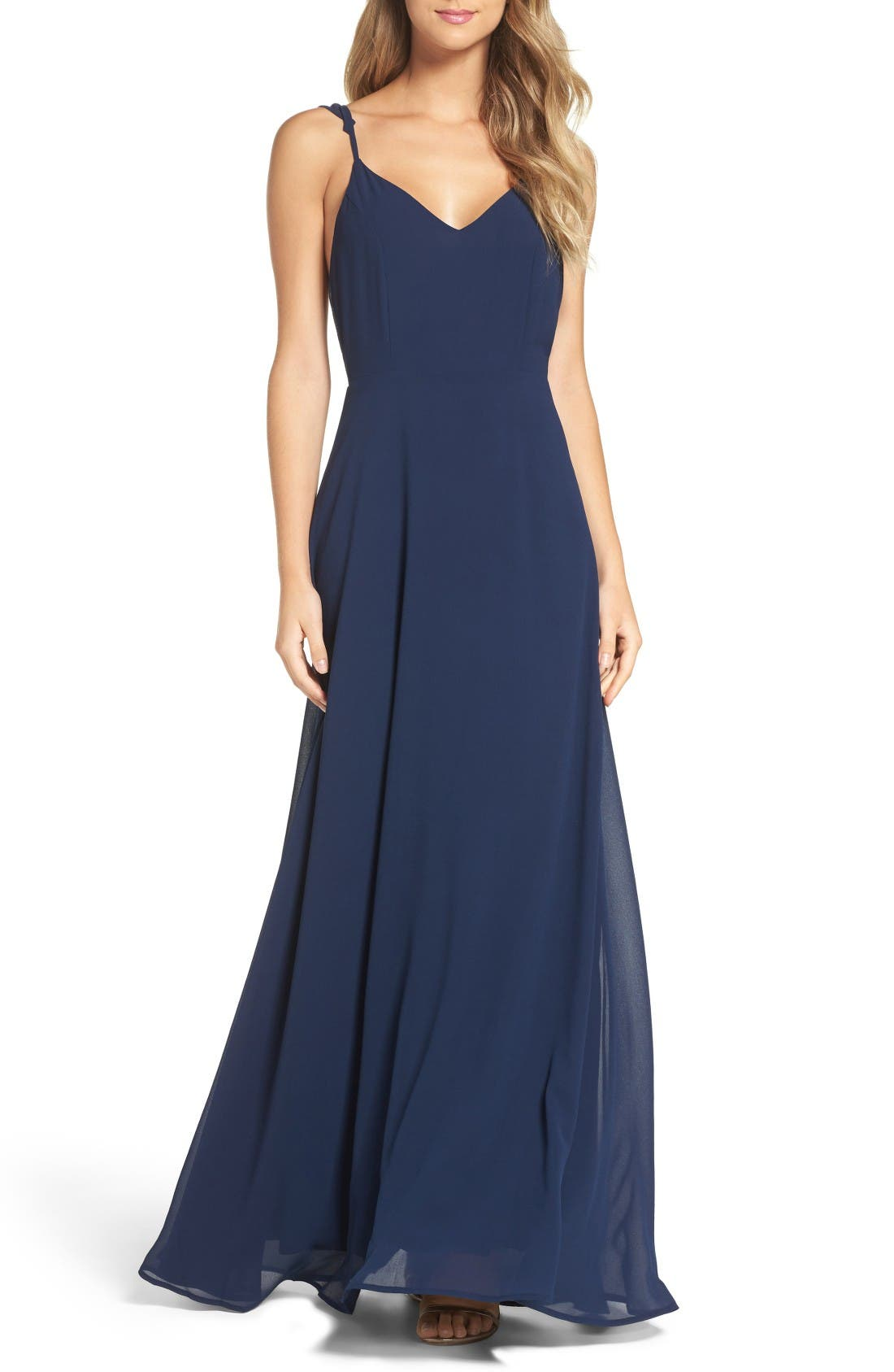 Alternate Image 1 Selected - Lulus Flutter Strap A-Line Chiffon Gown