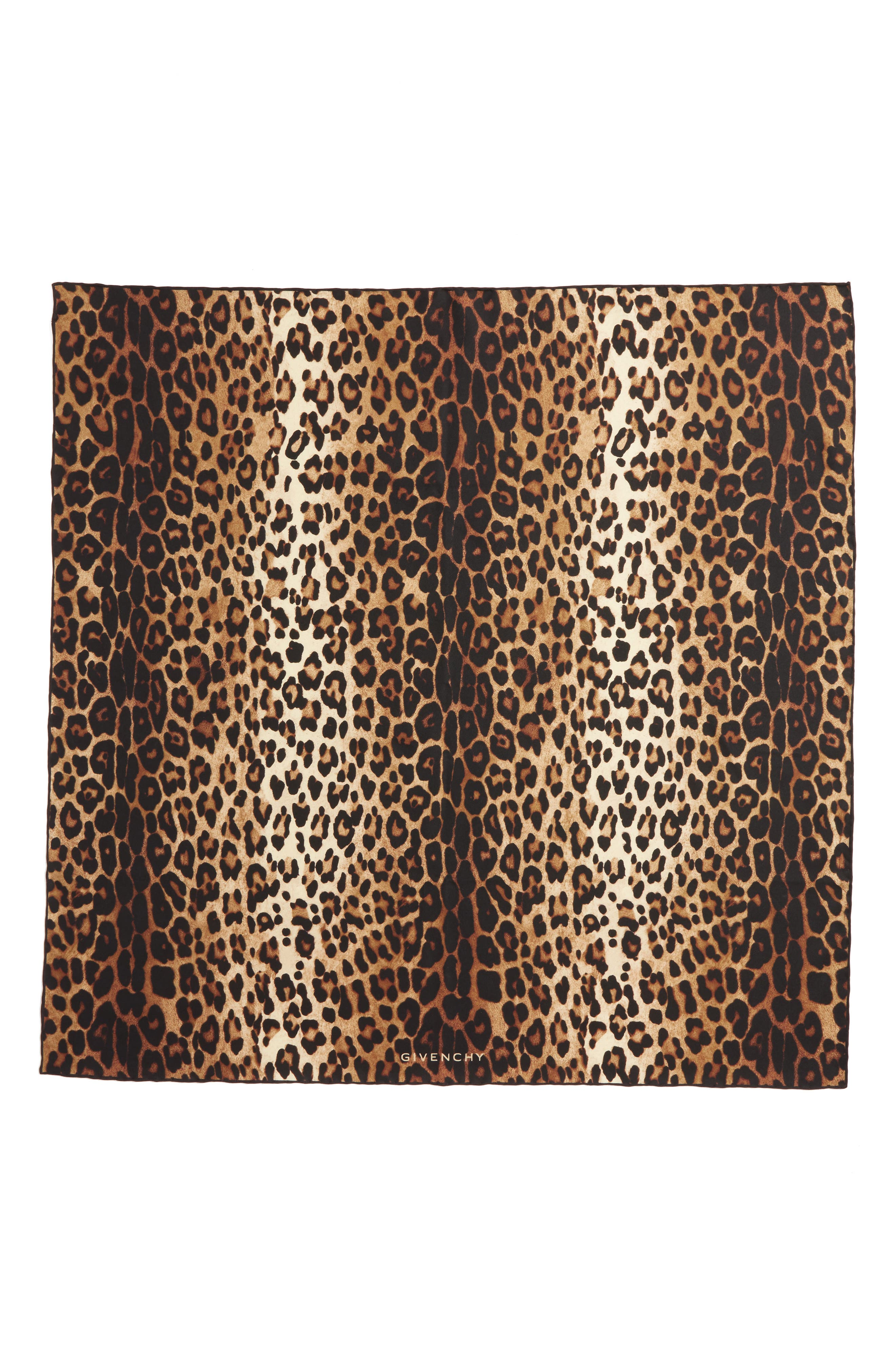 GIVENCHY Leopard Print Square Silk Scarf