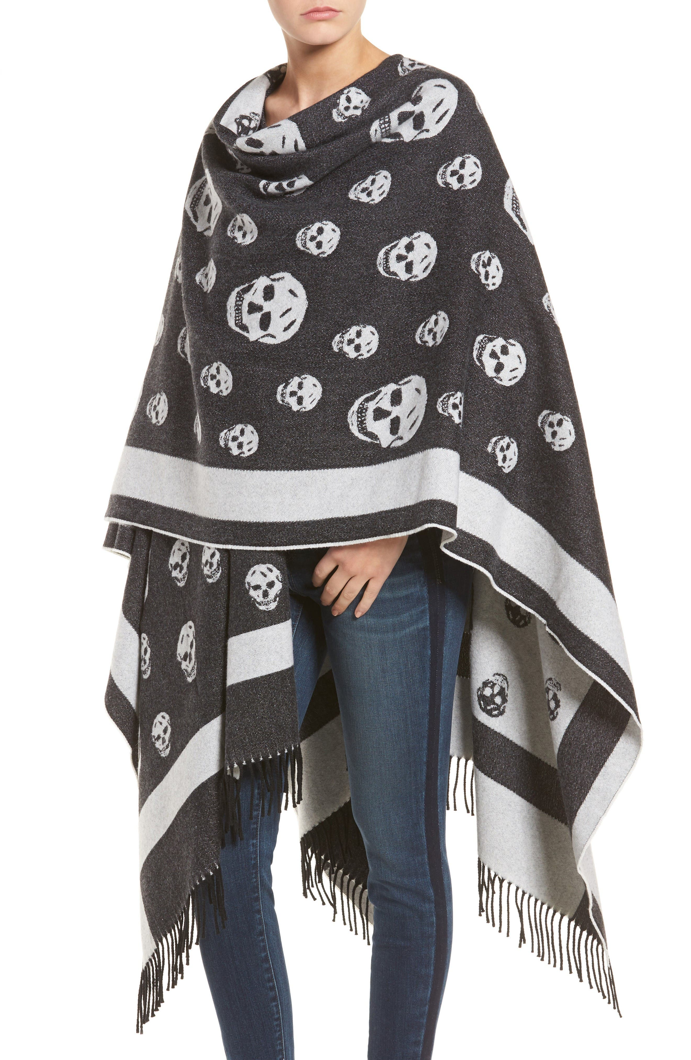 Alternate Image 4  - Alexander McQueen 'Big Skull' Wool & Cashmere Jacquard Poncho