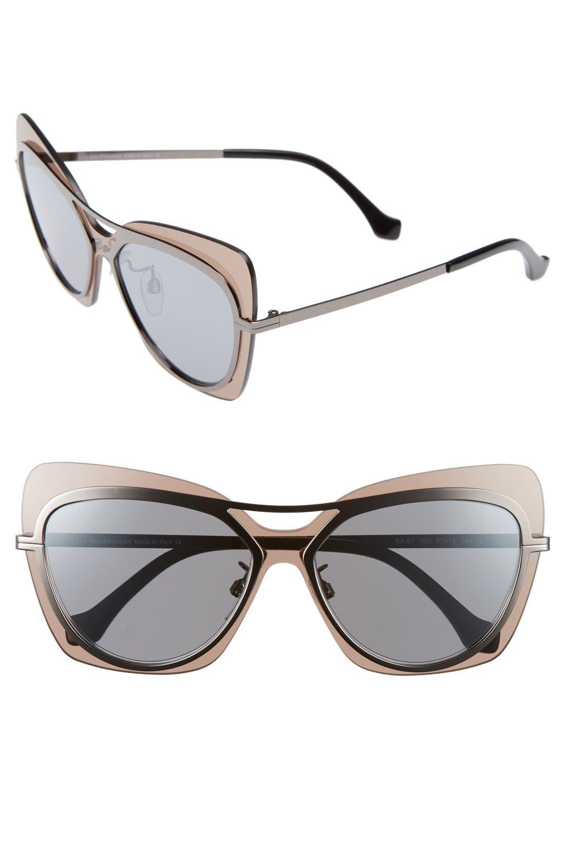 Balenciaga Paris 57mm Layered Butterfly Sunglasses