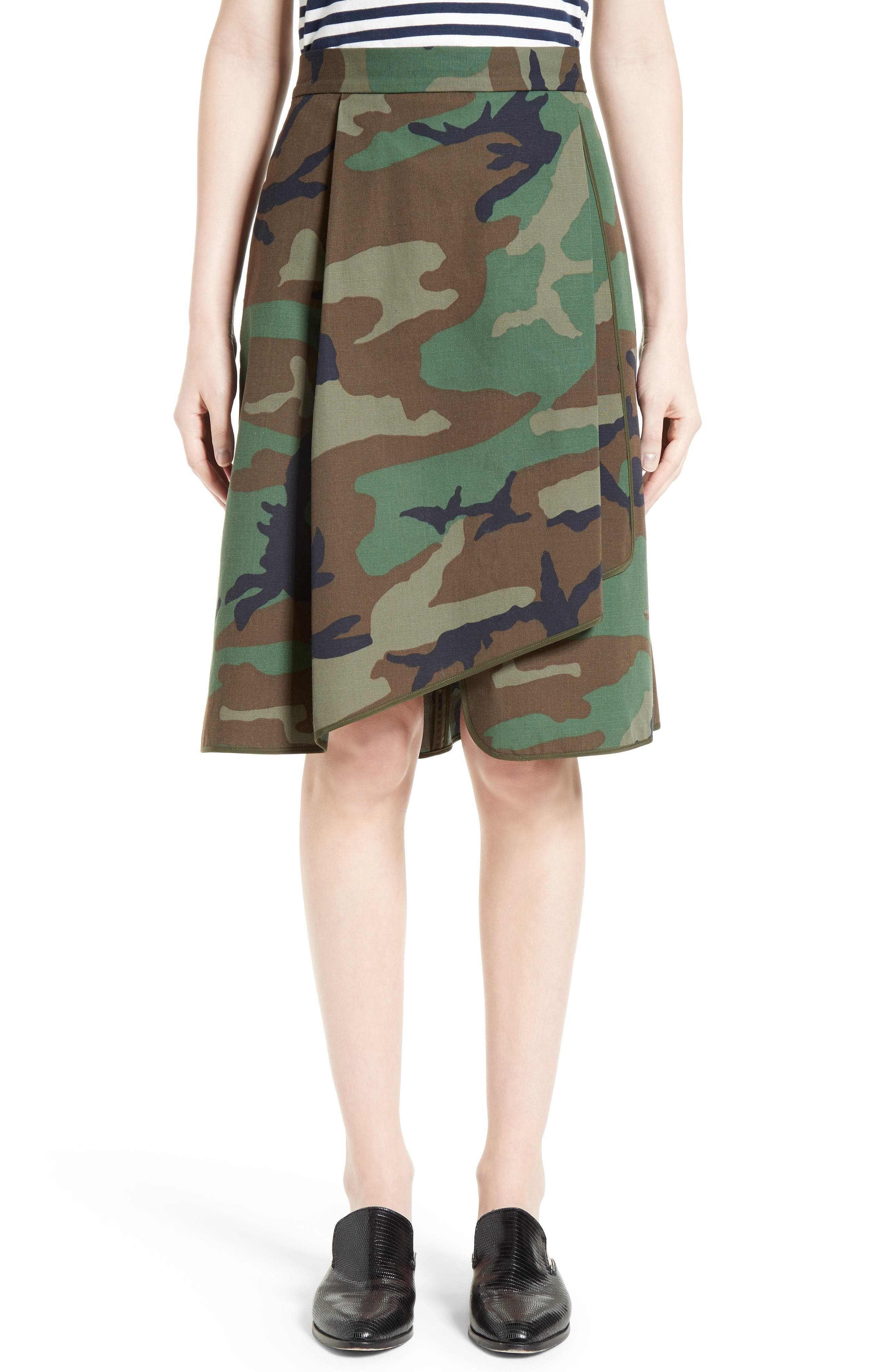 HARVEY FAIRCLOTH Camouflage Print Asymmetrical Skirt