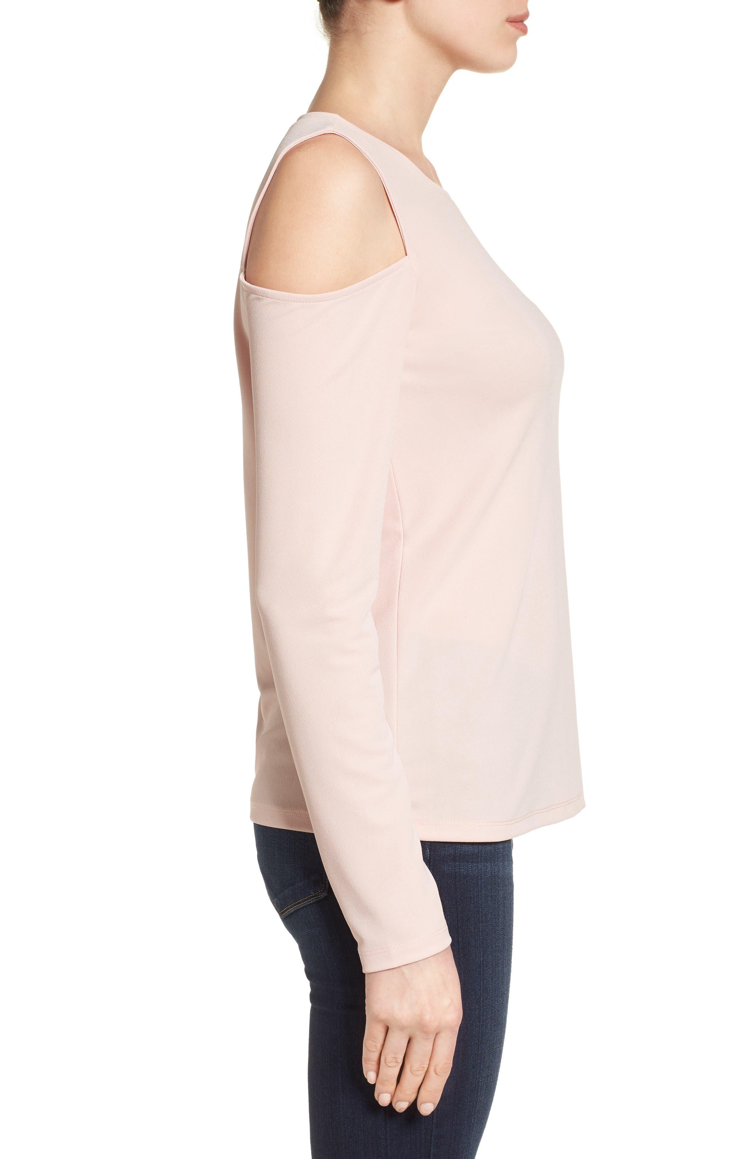 Alternate Image 4  - Halogen® Stretch Knit Cold Shoulder Top (Regular & Petite)