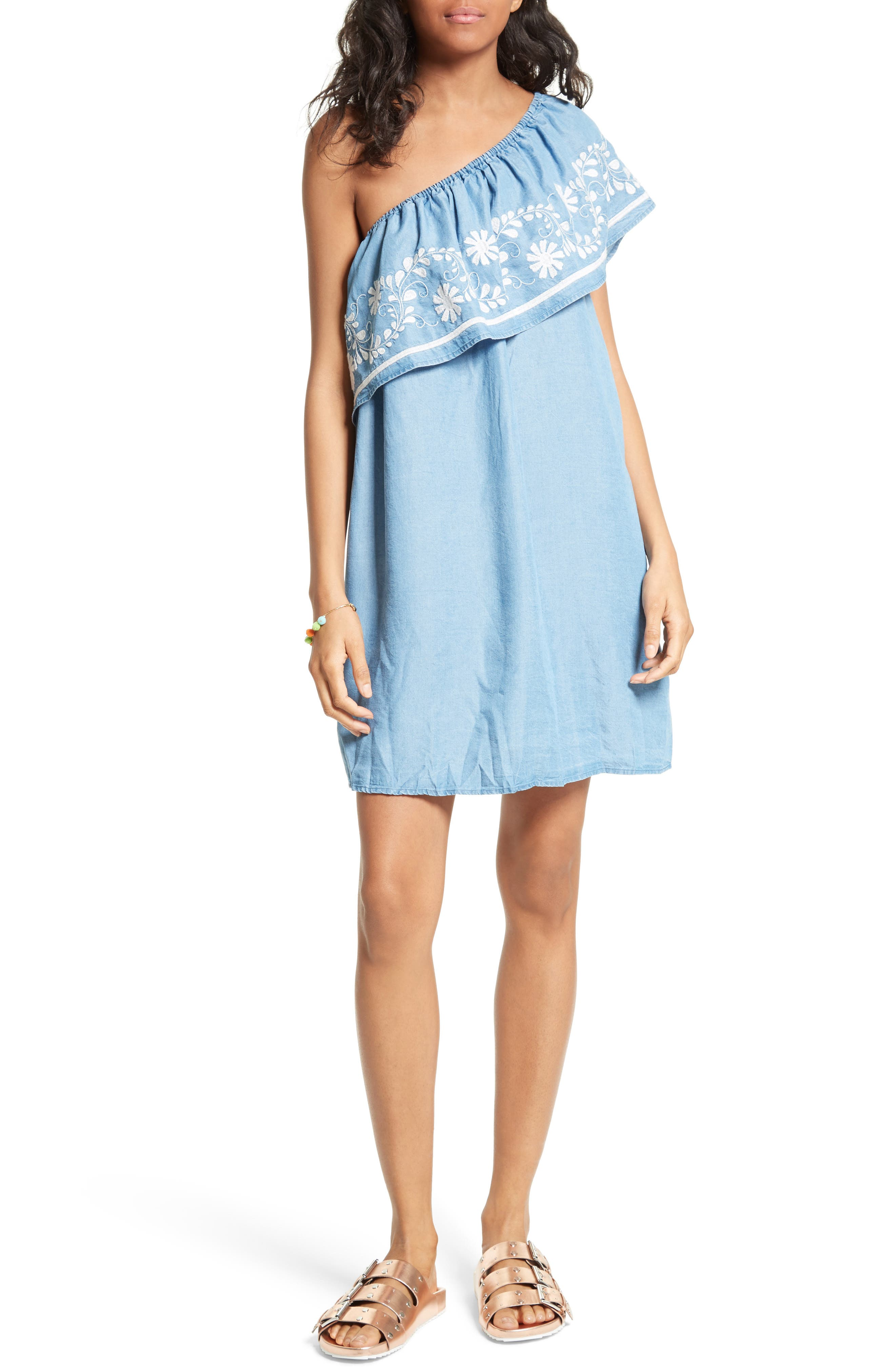 Alternate Image 1 Selected - Rebecca Minkoff Rita Chambray One-Shoulder Dress