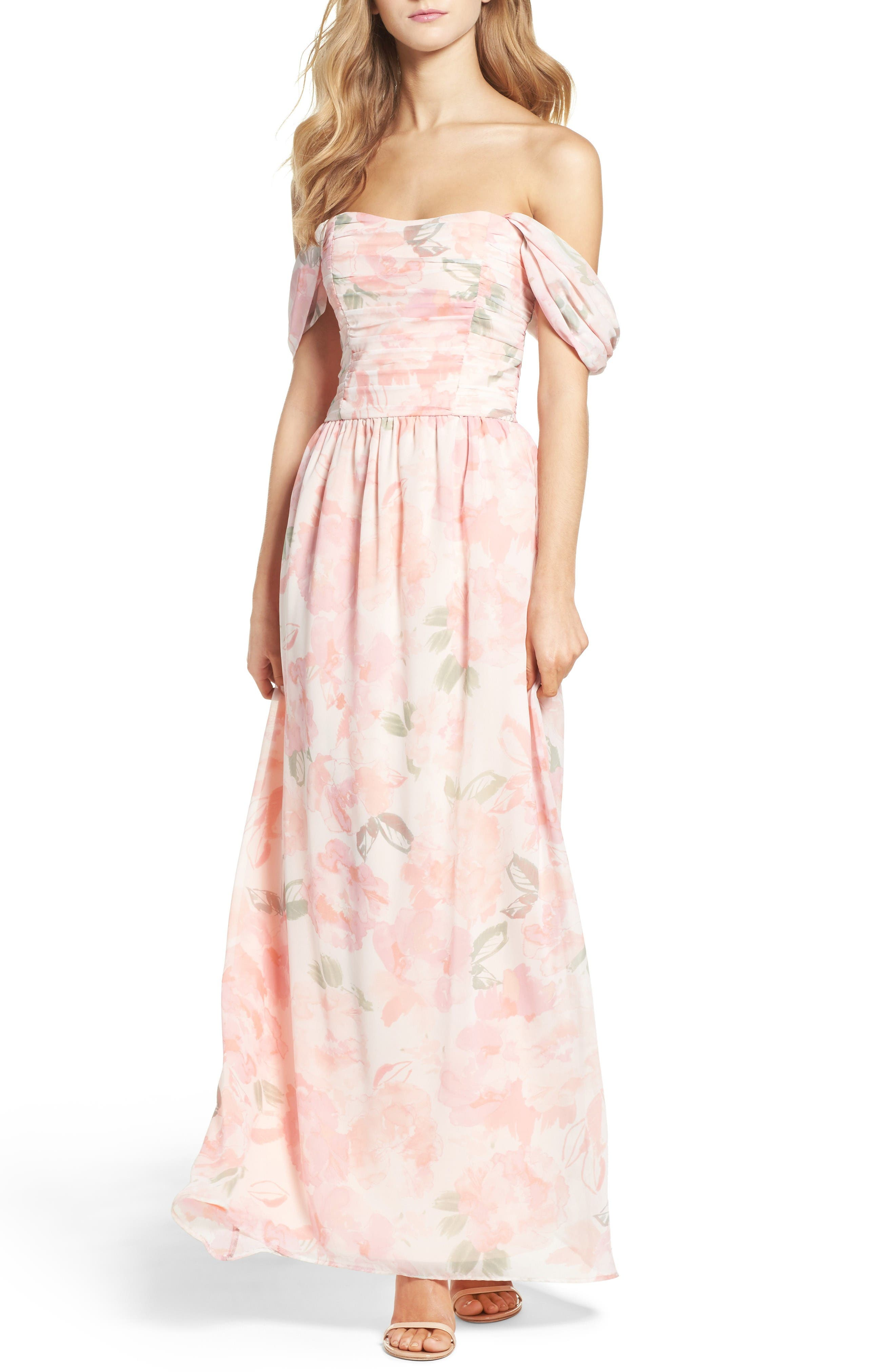 Plum Pretty Sugar Convertible Floral Off the Shoulder Gown