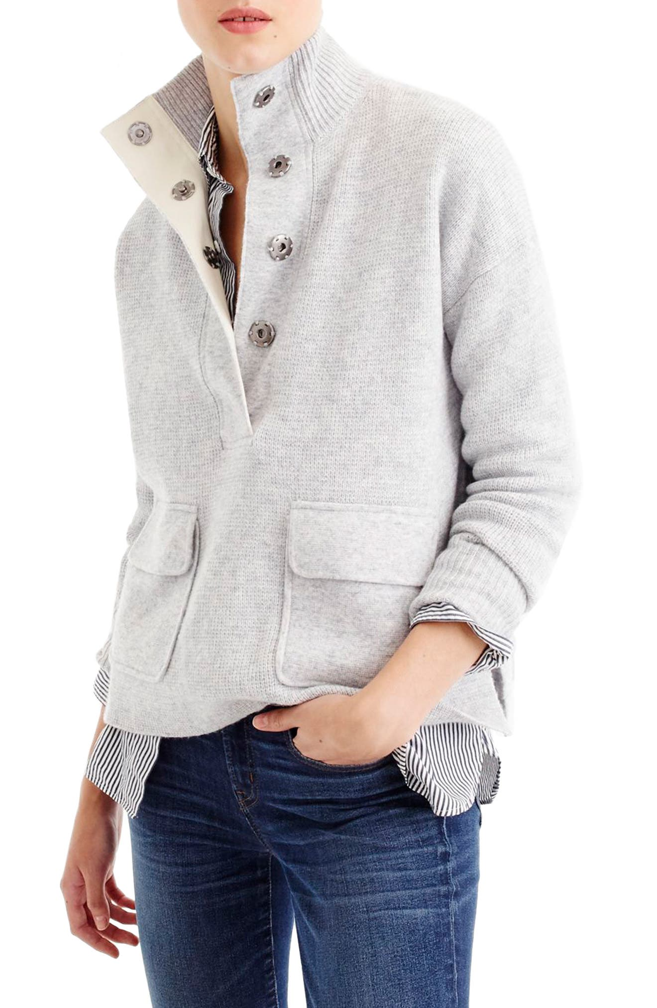 Main Image - J.Crew Snap Placket Pullover Sweater