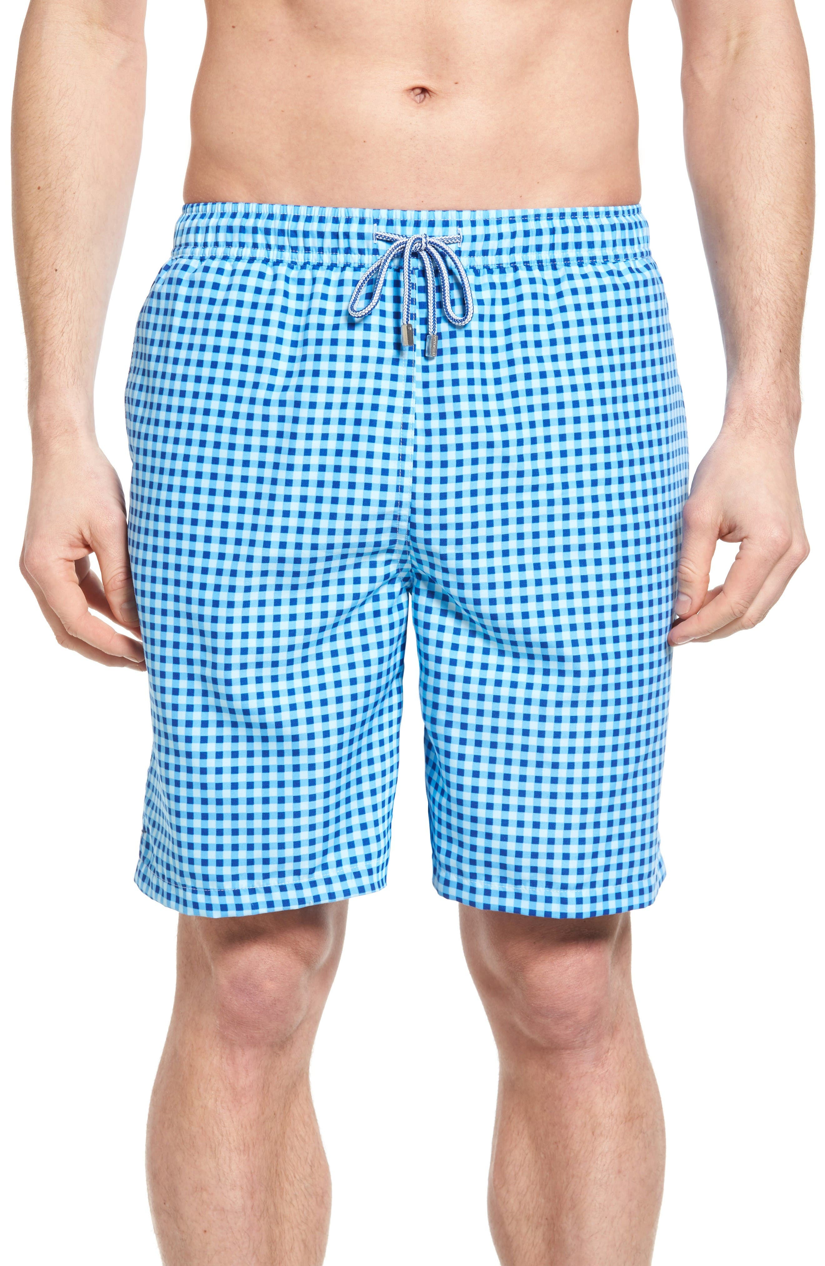 PETER MILLAR Gingham Swim Trunks