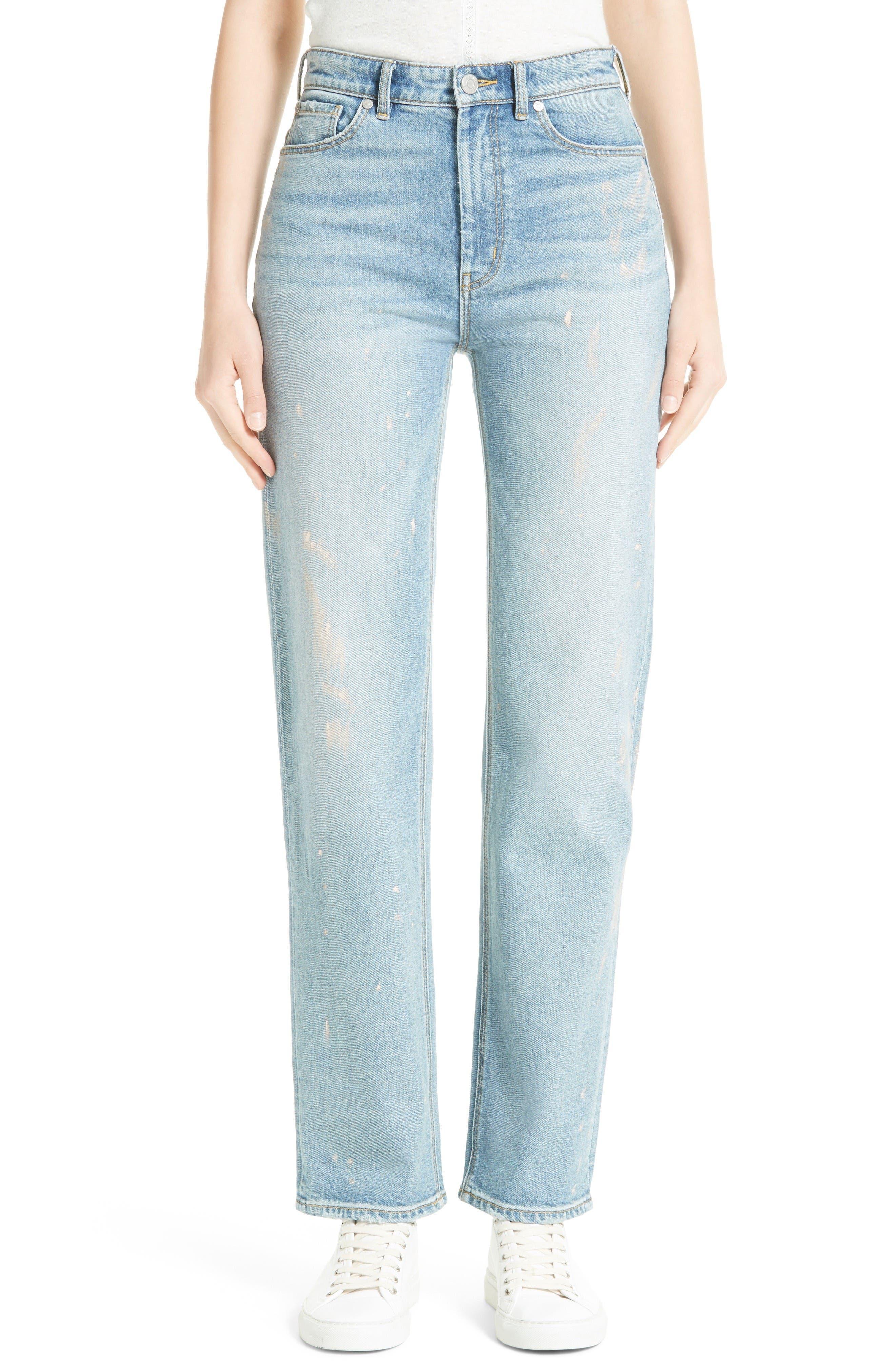 Alternate Image 1 Selected - La Vie Rebecca Taylor Paint Splatter Straight Leg Jeans