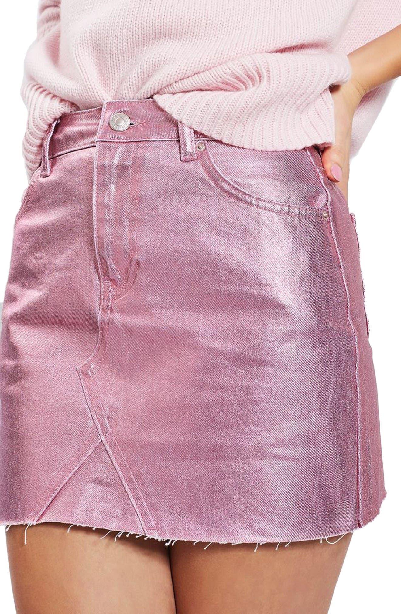 Main Image - Topshop Moto High Waist Metallic Denim Miniskirt (Regular & Petite)