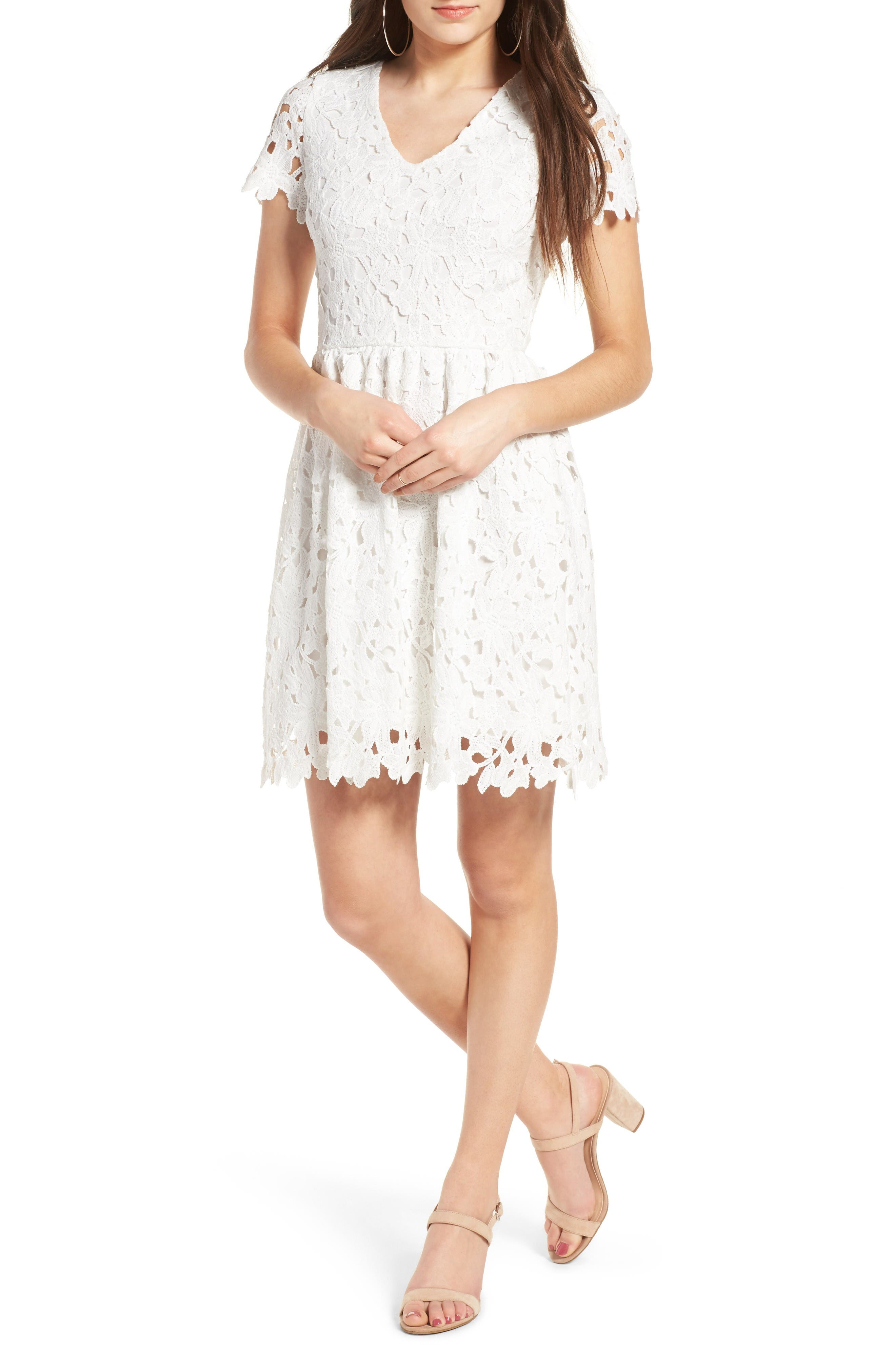 Alternate Image 1 Selected - Dee Elly Lace Skater Dress