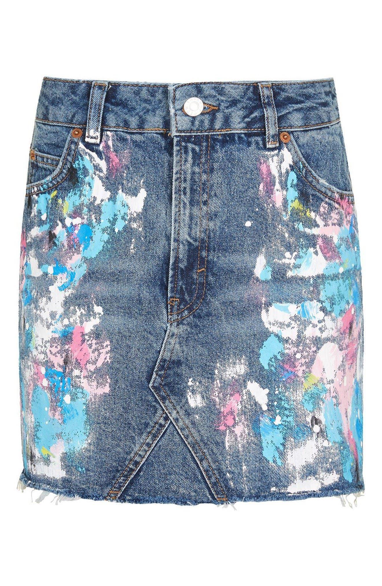 Alternate Image 5  - Topshop Moto Splatter Paint Denim Miniskirt