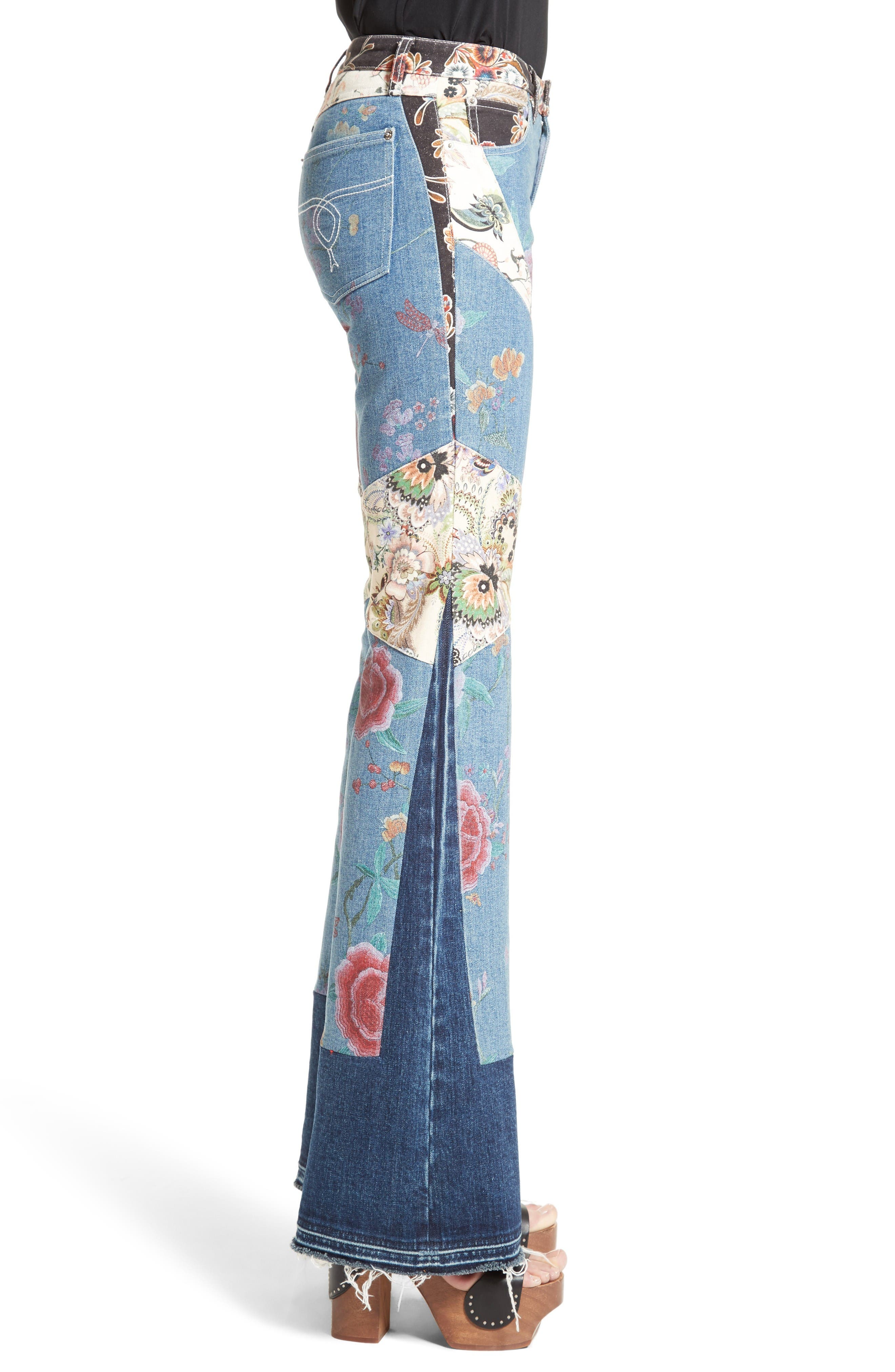 Alternate Image 5  - Roberto Cavalli Patchwork Denim Flare Jeans