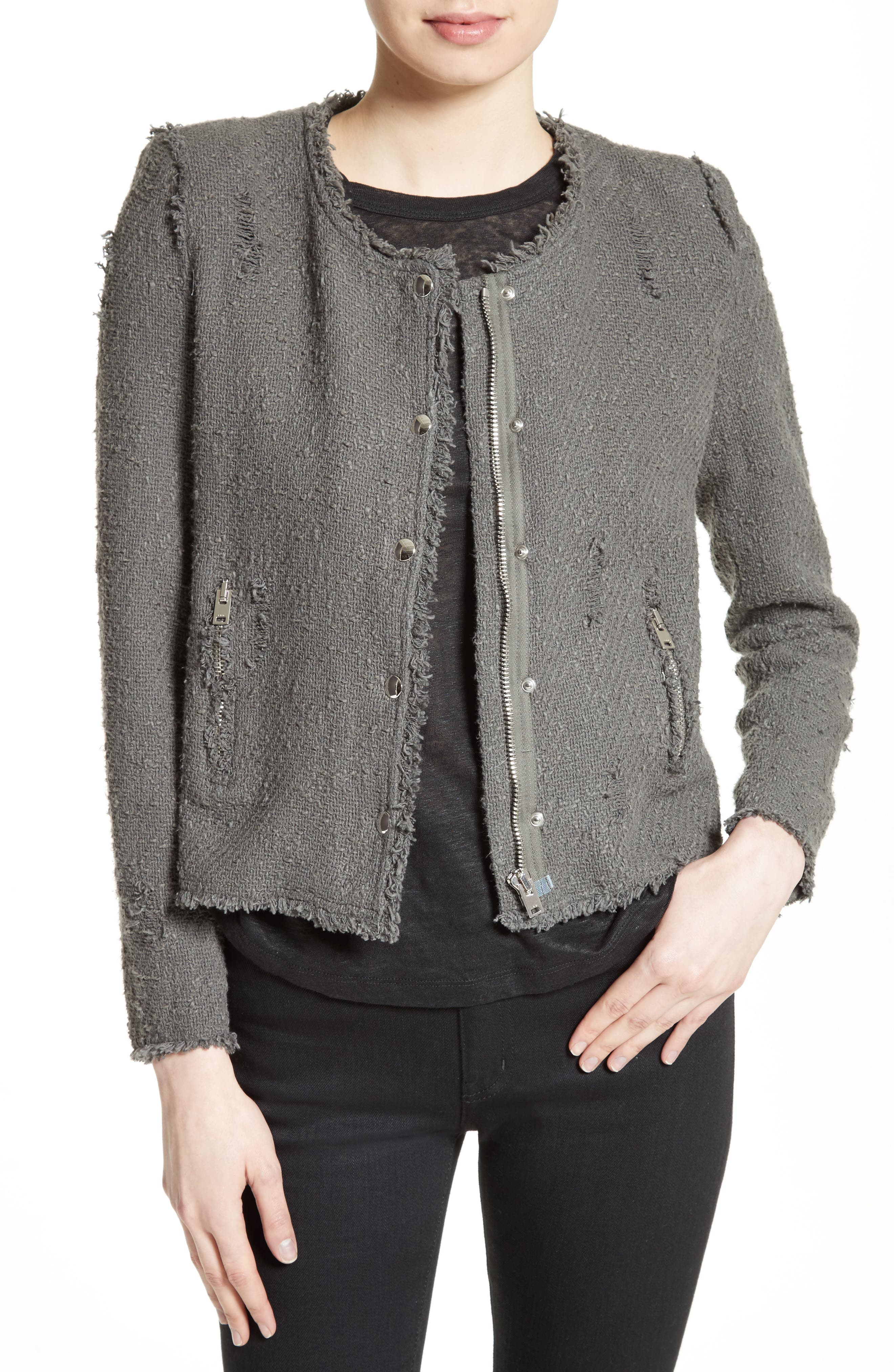 IRO Snap Front Crop Cotton Tweed Jacket