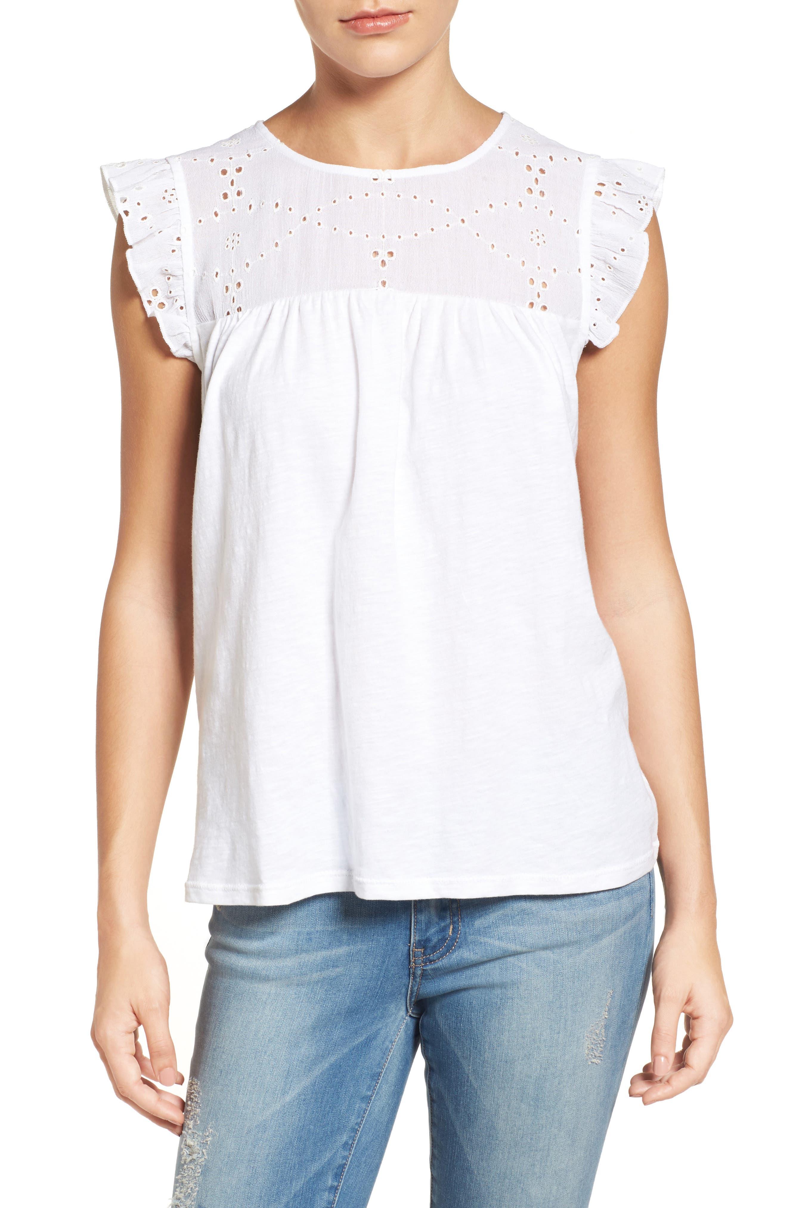 Caslon® Eyelet Embroidered Flutter Sleeve Top (Regular & Petite)