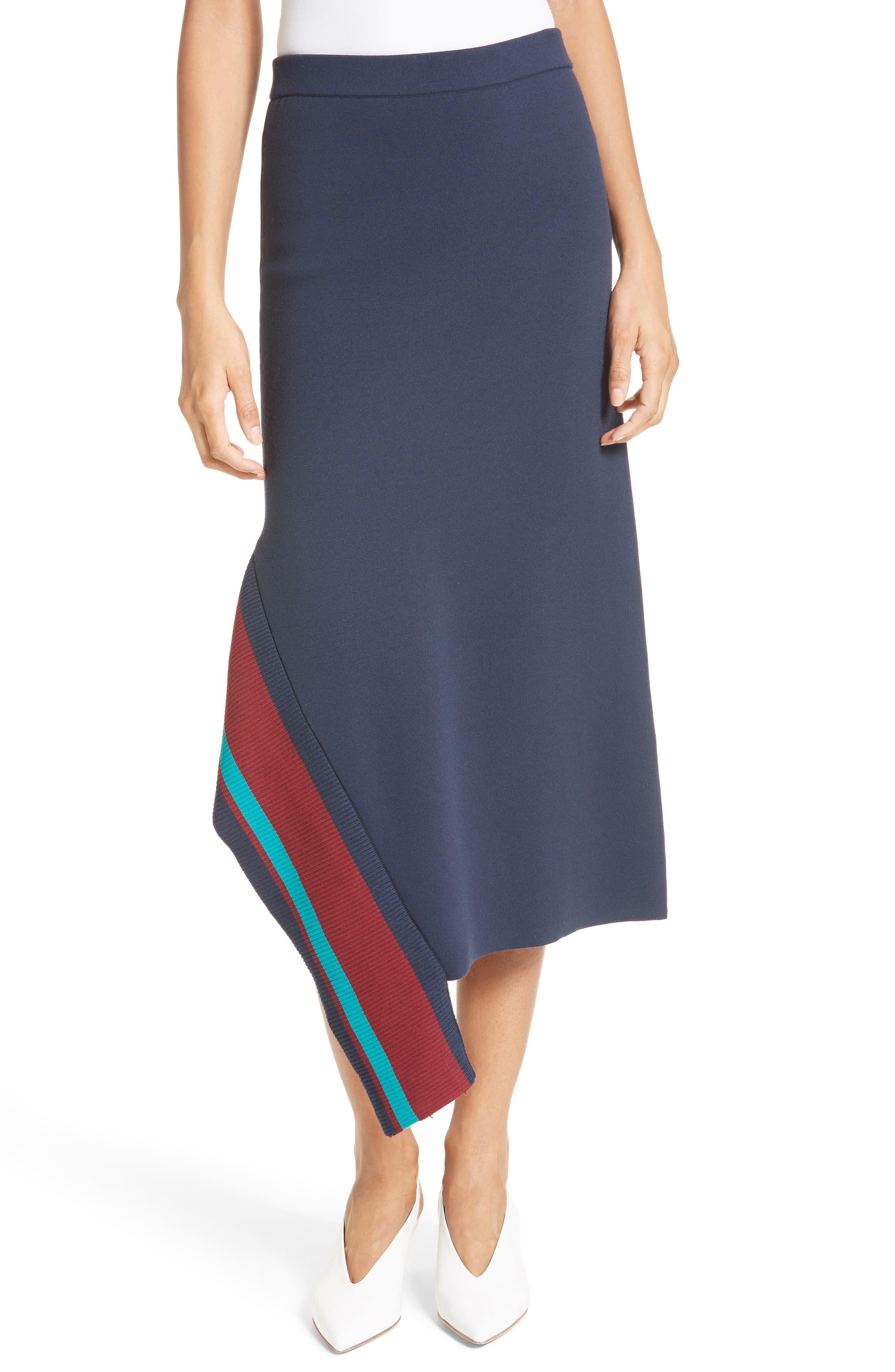 Tibi Stripe Trim Asymmetrical Knit Skirt