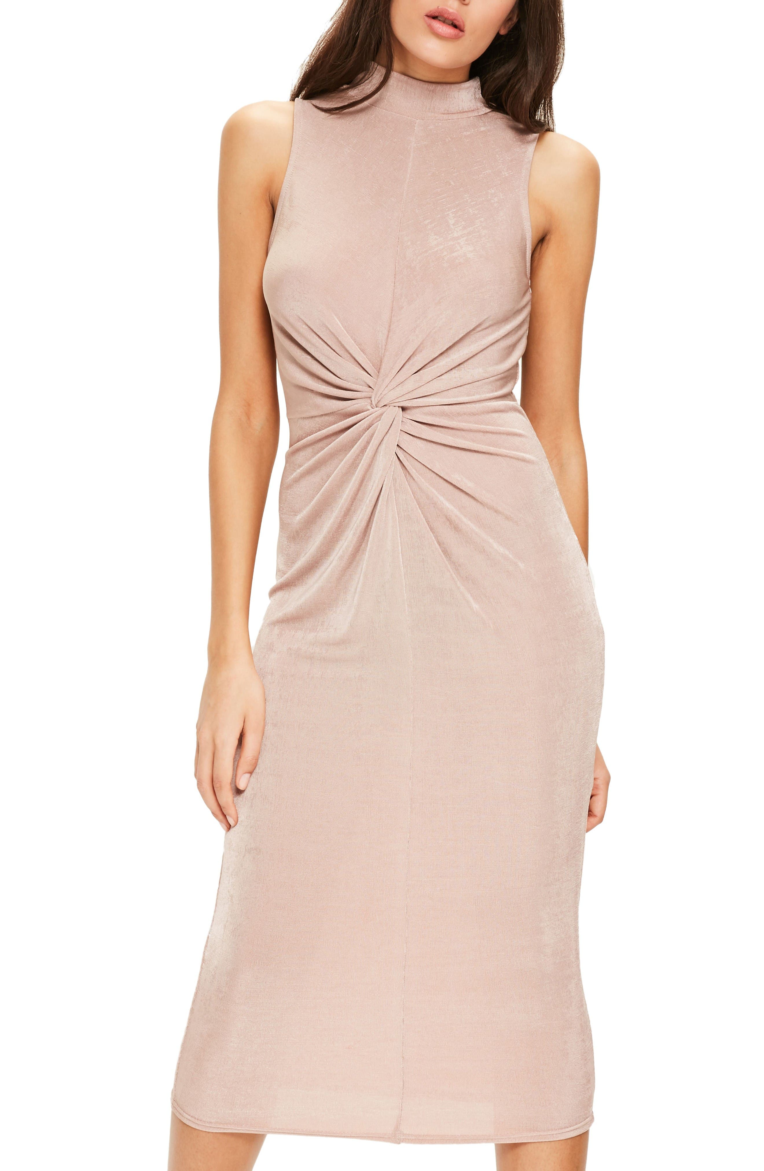 Main Image - Missguided Front Knot Midi Dress