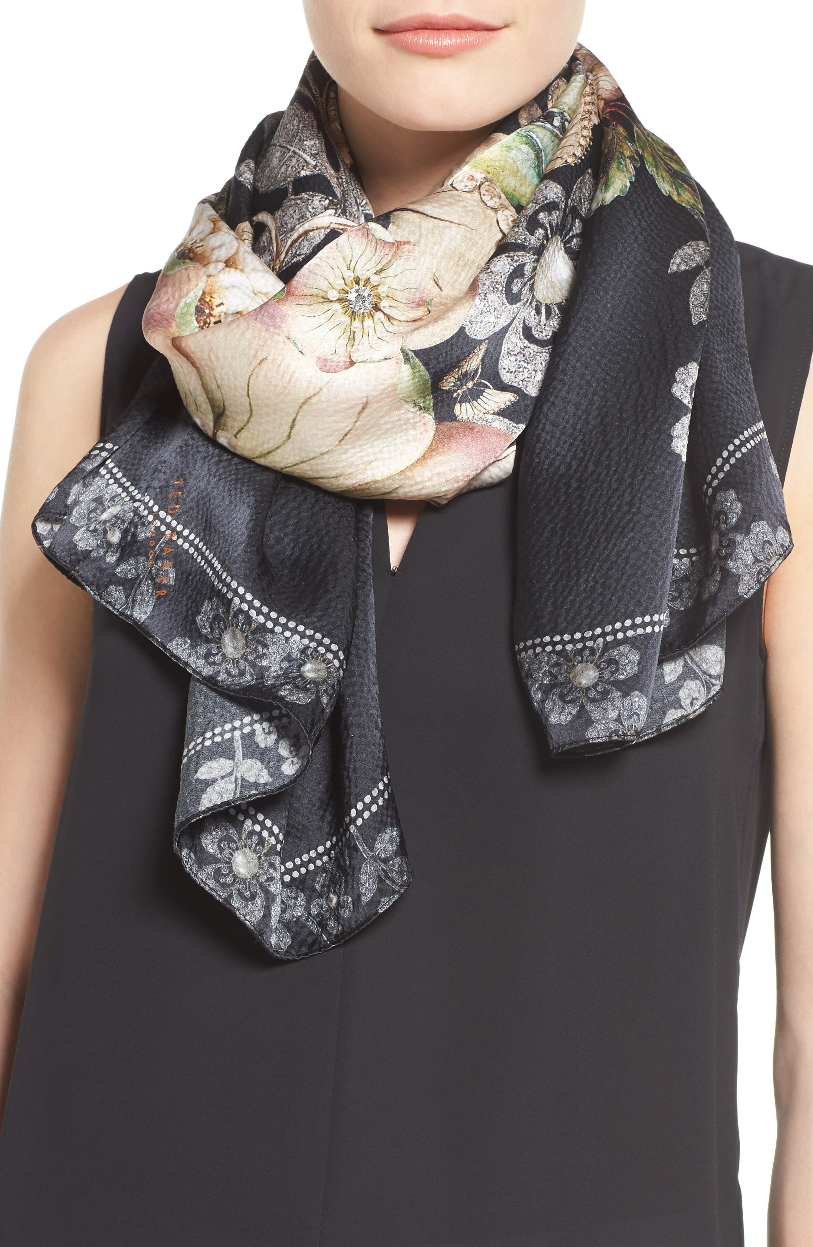 Alternate Image 4  - Ted Baker London Gem Gardens Cape Scarf