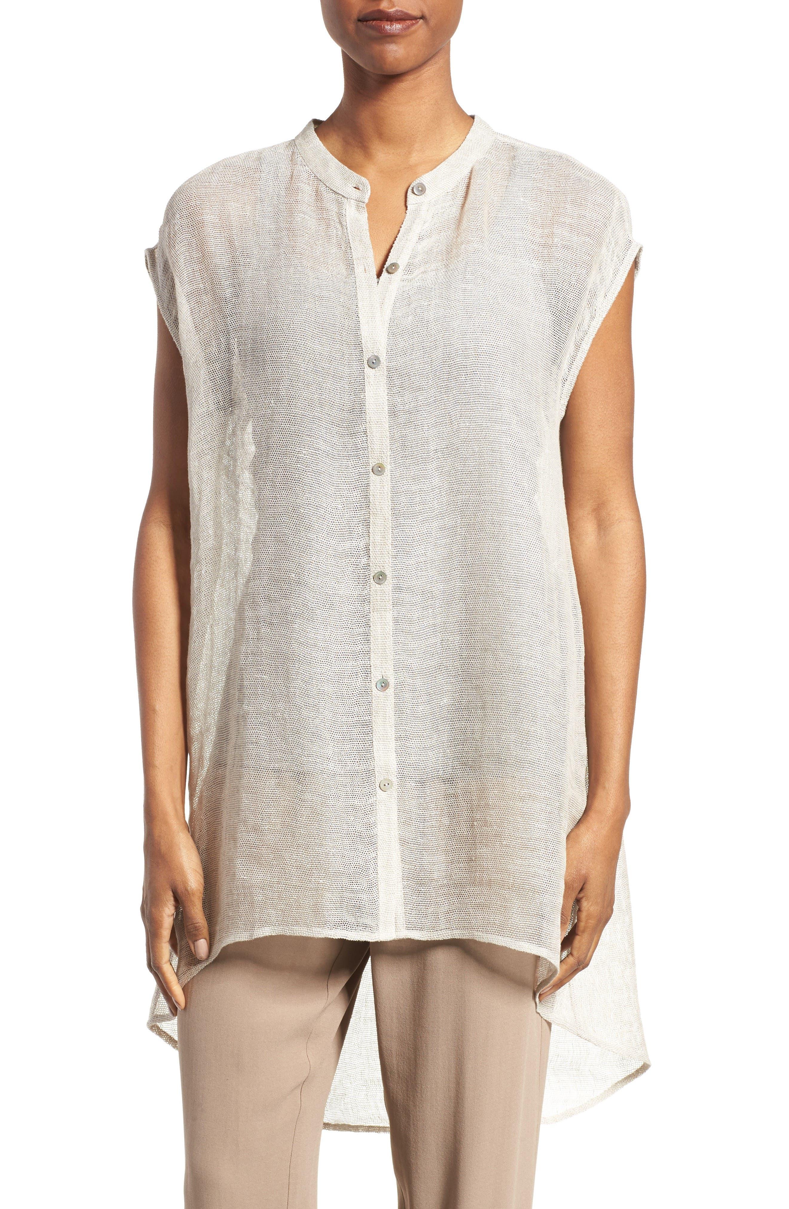 Eileen Fisher Linen Blend Sheer Mandarin Collar Tunic (Regular & Petite)
