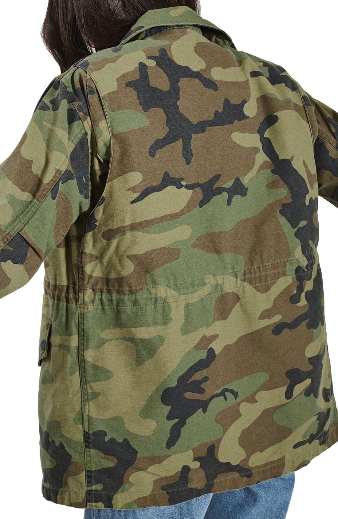 Alternate Image 3  - Topshop Ben Faux Fur Lined Camo Jacket