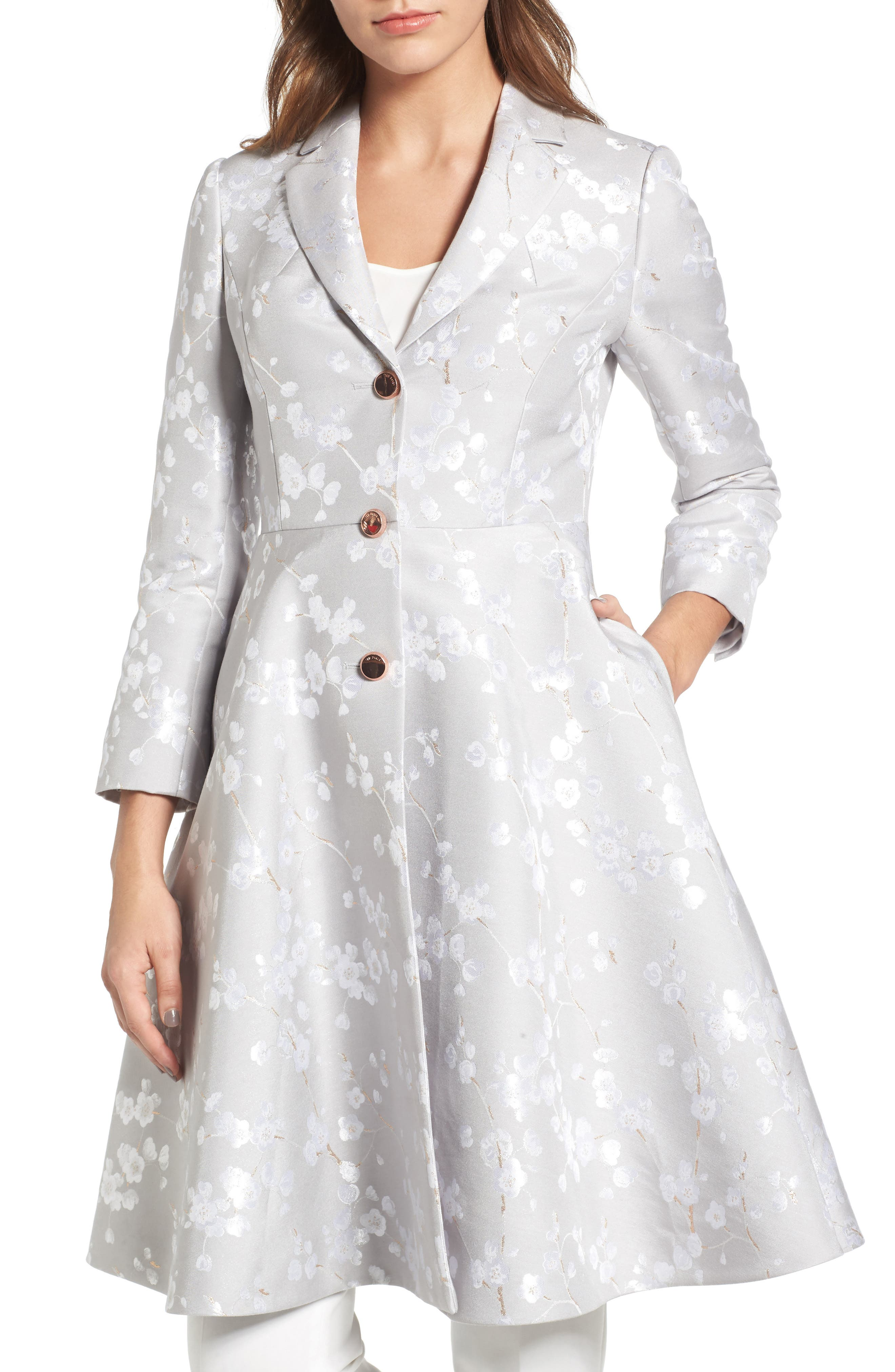 Ted Baker London Jacquard Fit & Flare Coat