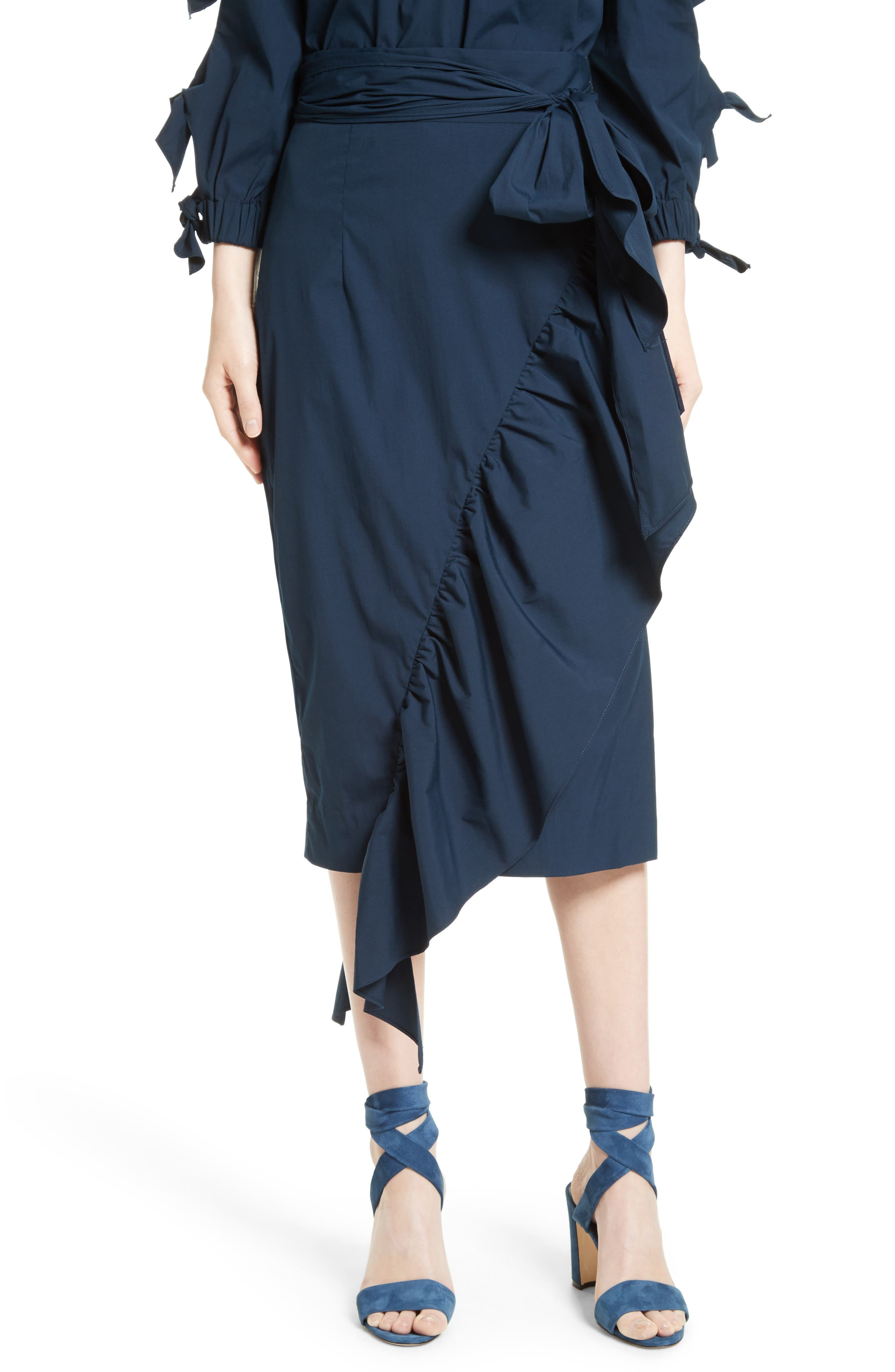Milly Ruffled Stretch Poplin Skirt