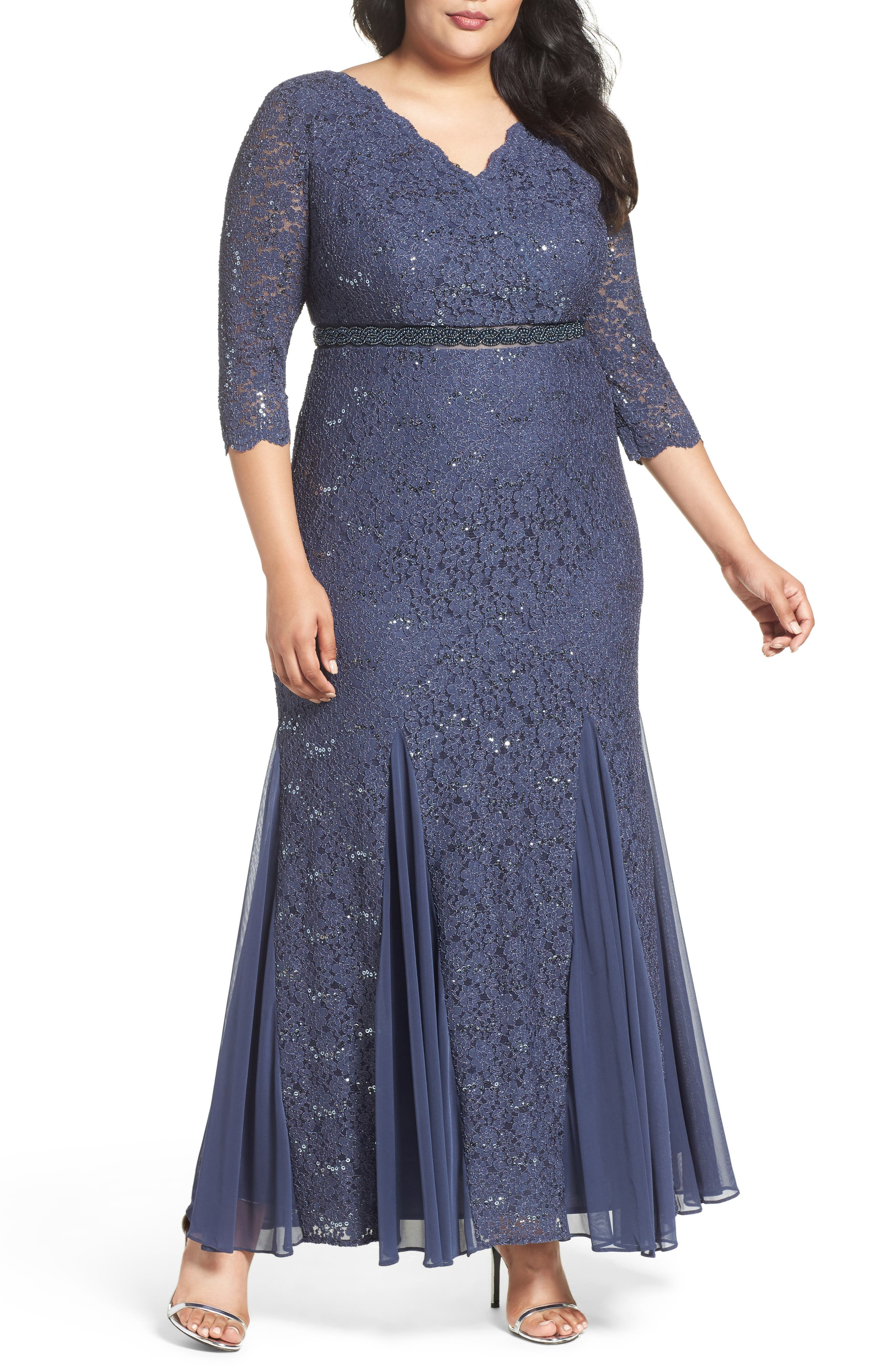 ALEX EVENINGS Embellished Waist Sequin Lace Dress