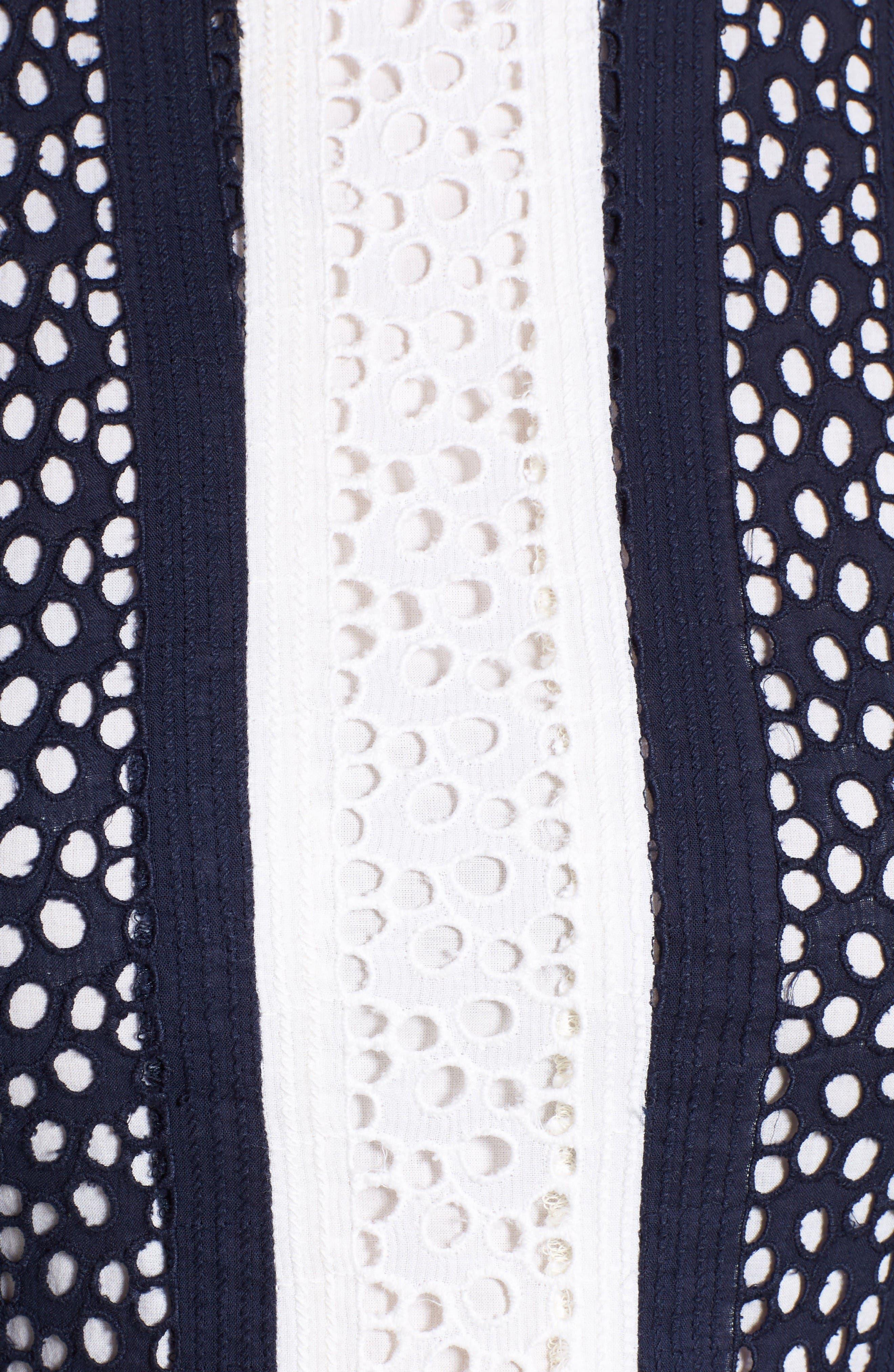 Alternate Image 5  - MICHAEL Michael Kors Stripe Eyelet Fit & Flare Dress