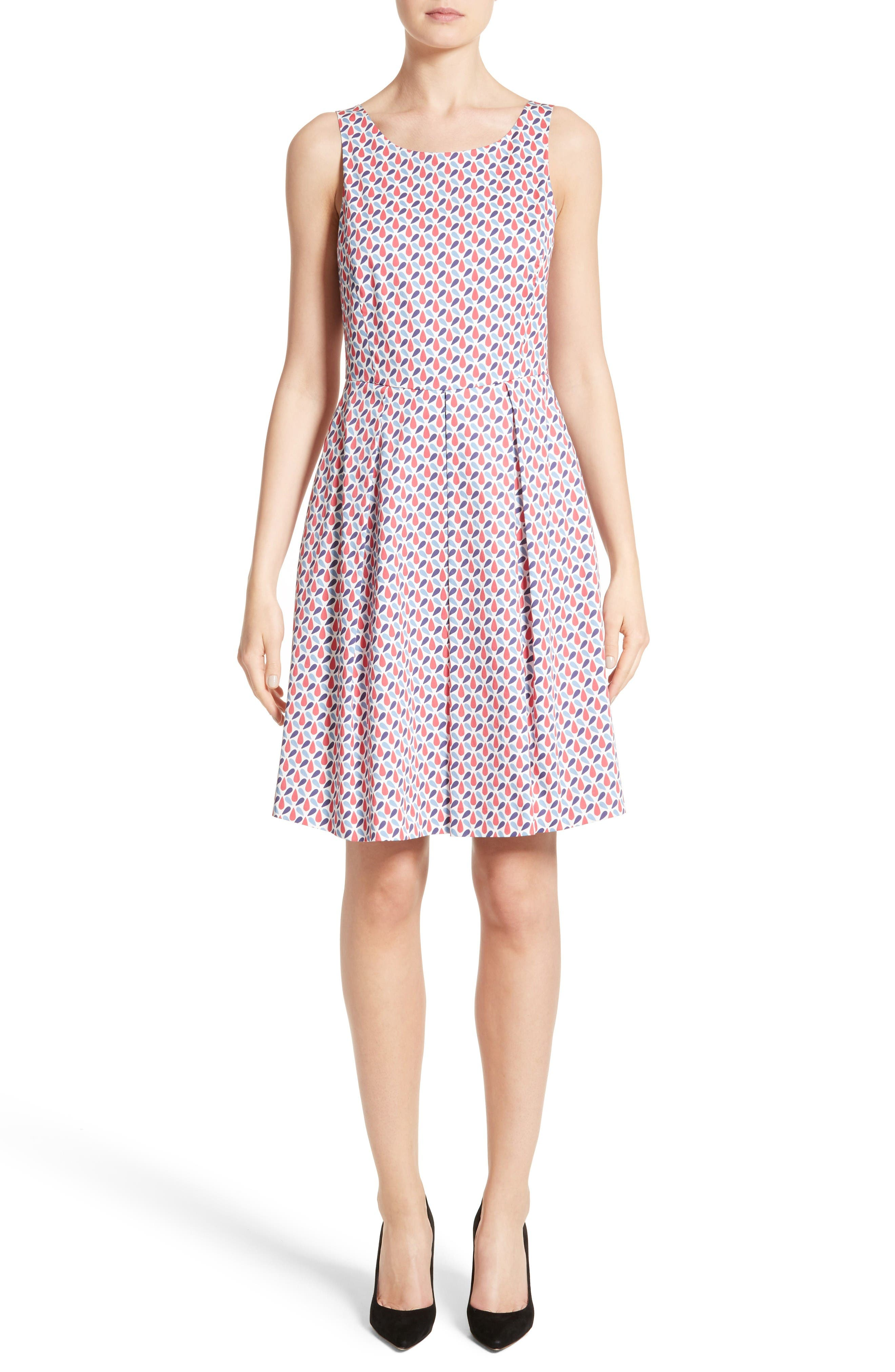 Armani Collezioni Print Cotton Fit & Flair Dress