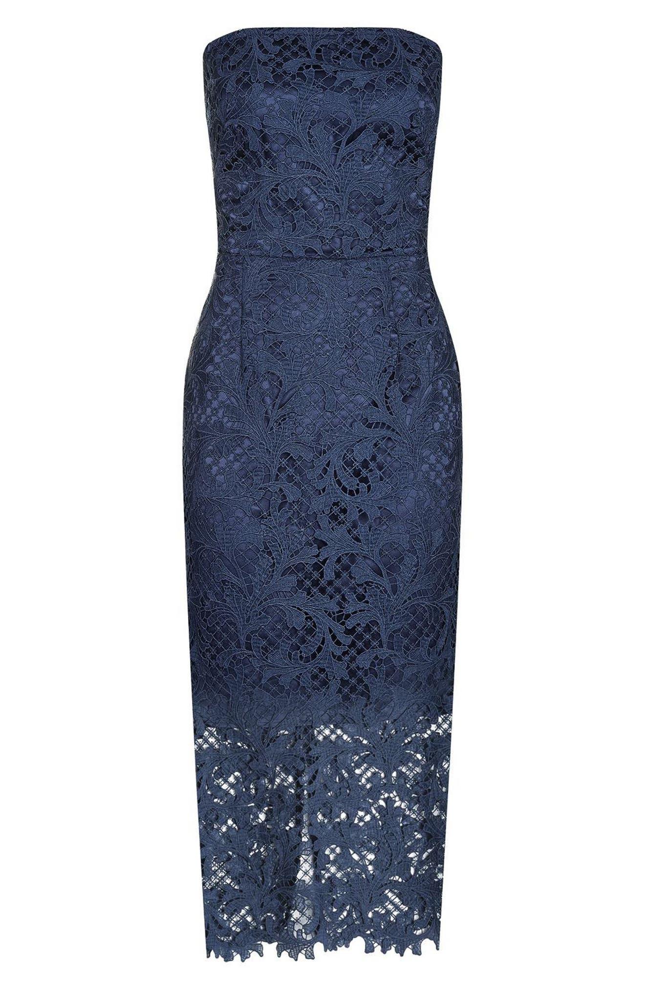 Alternate Image 4  - Topshop Strapless Lace Midi Dress