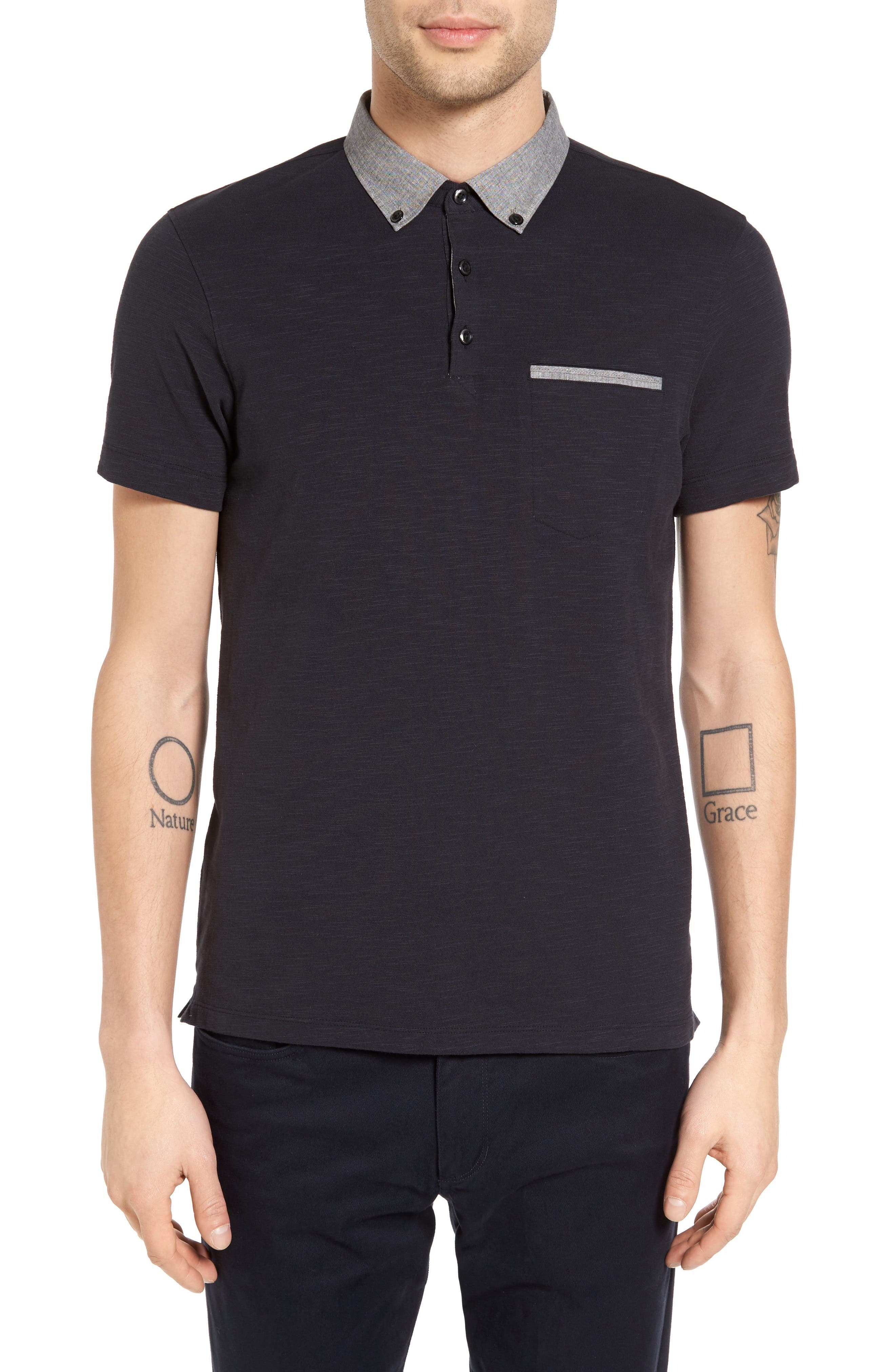 Main Image - Good Man Brand Woven Collar Slub Jersey Polo