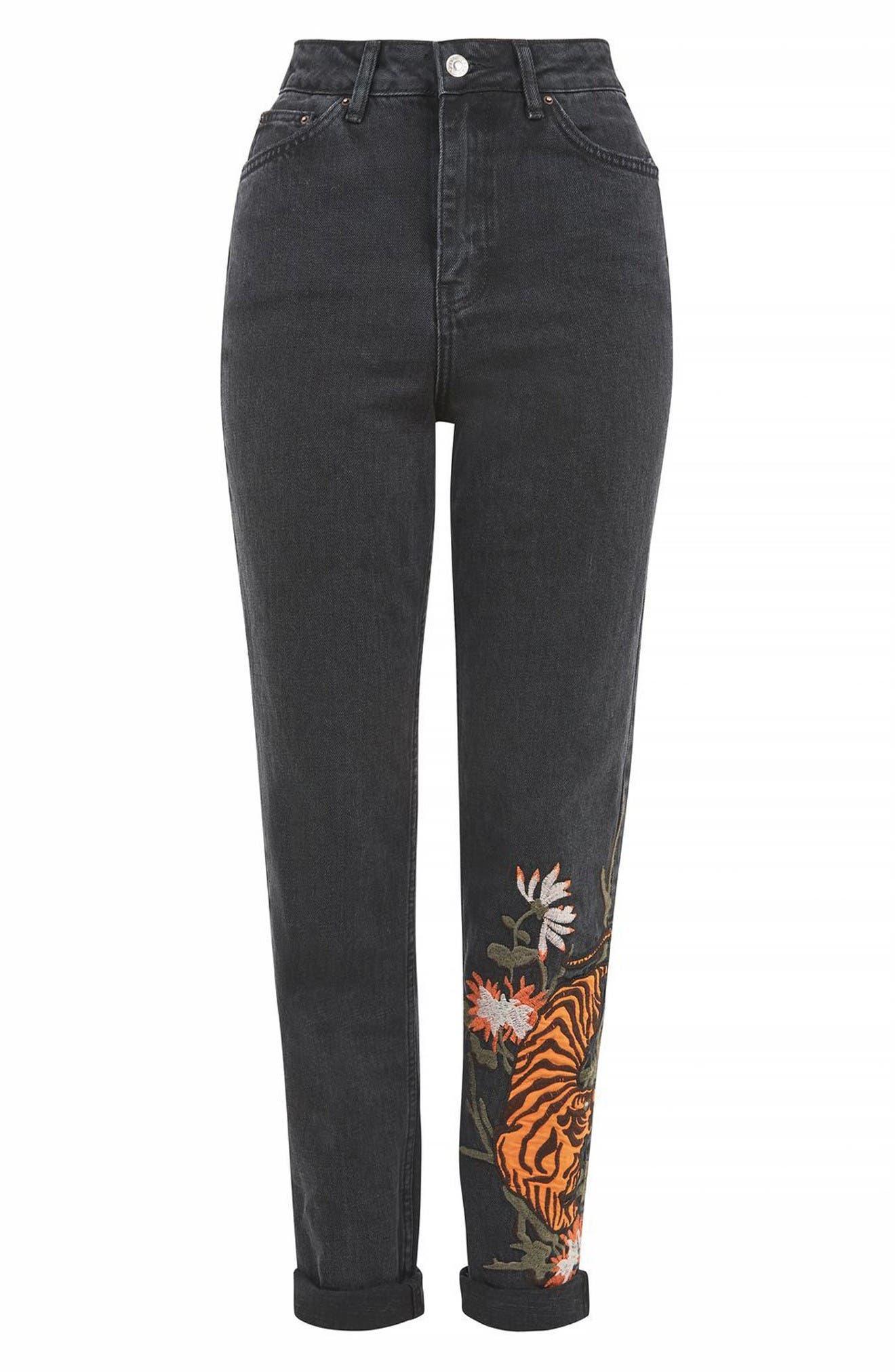 Alternate Image 4  - Topshop Tiger Embroidered Mom Jeans