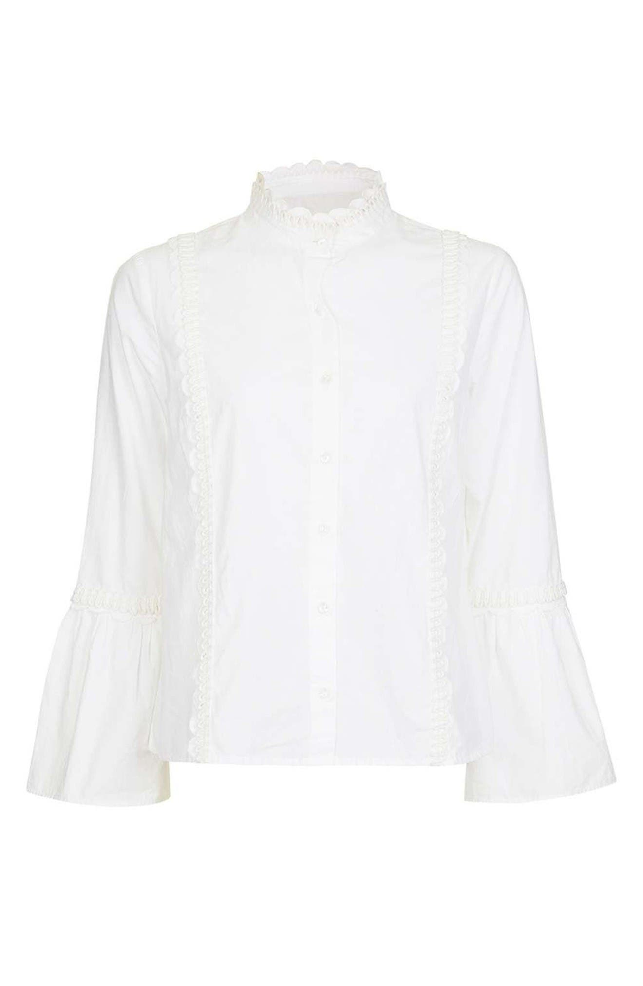 Alternate Image 4  - Topshop Cotton Poplin Ruffle Blouse