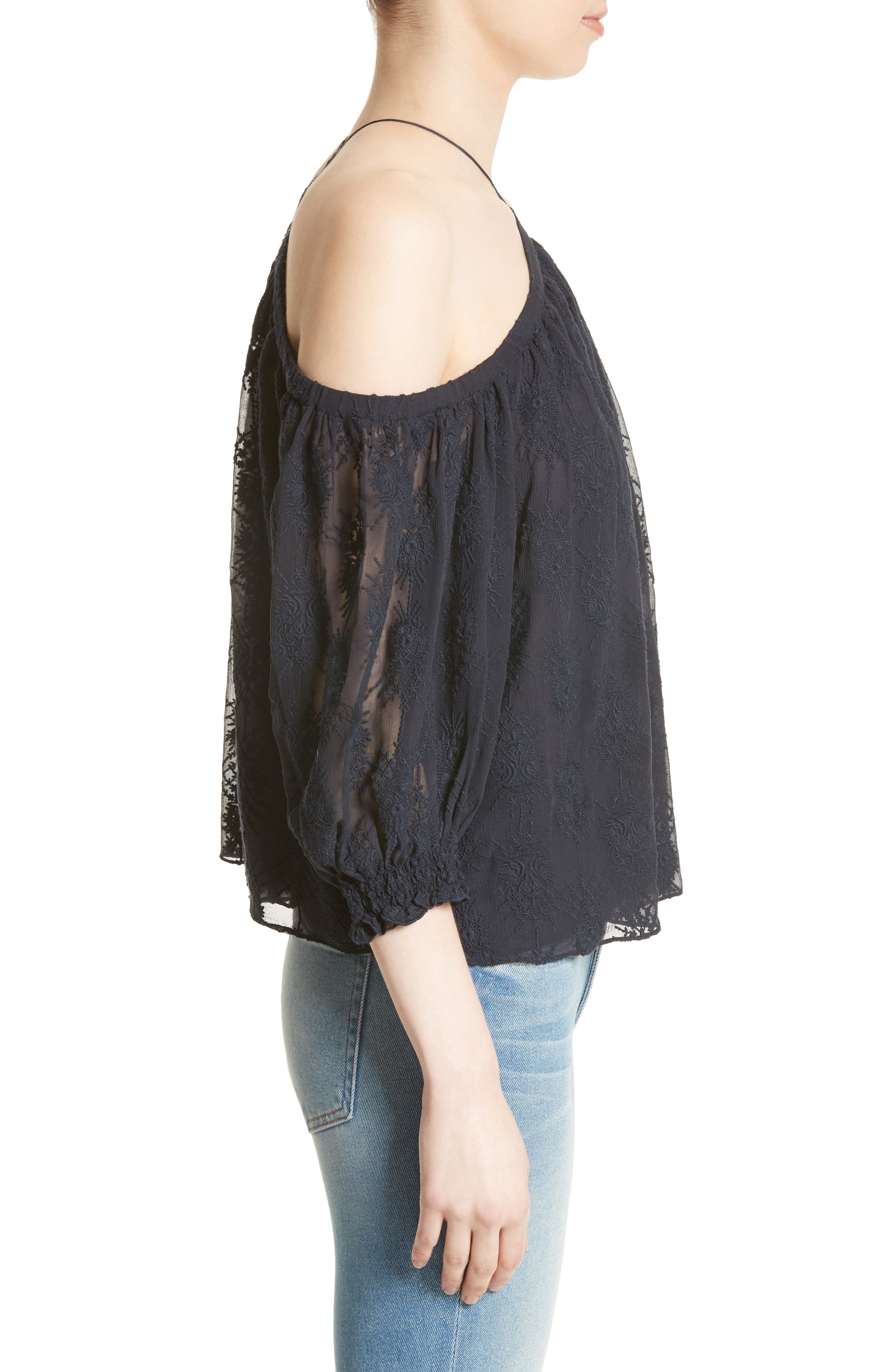 Alternate Image 3  - Rebecca Taylor Cold Shoulder Silk Blouse