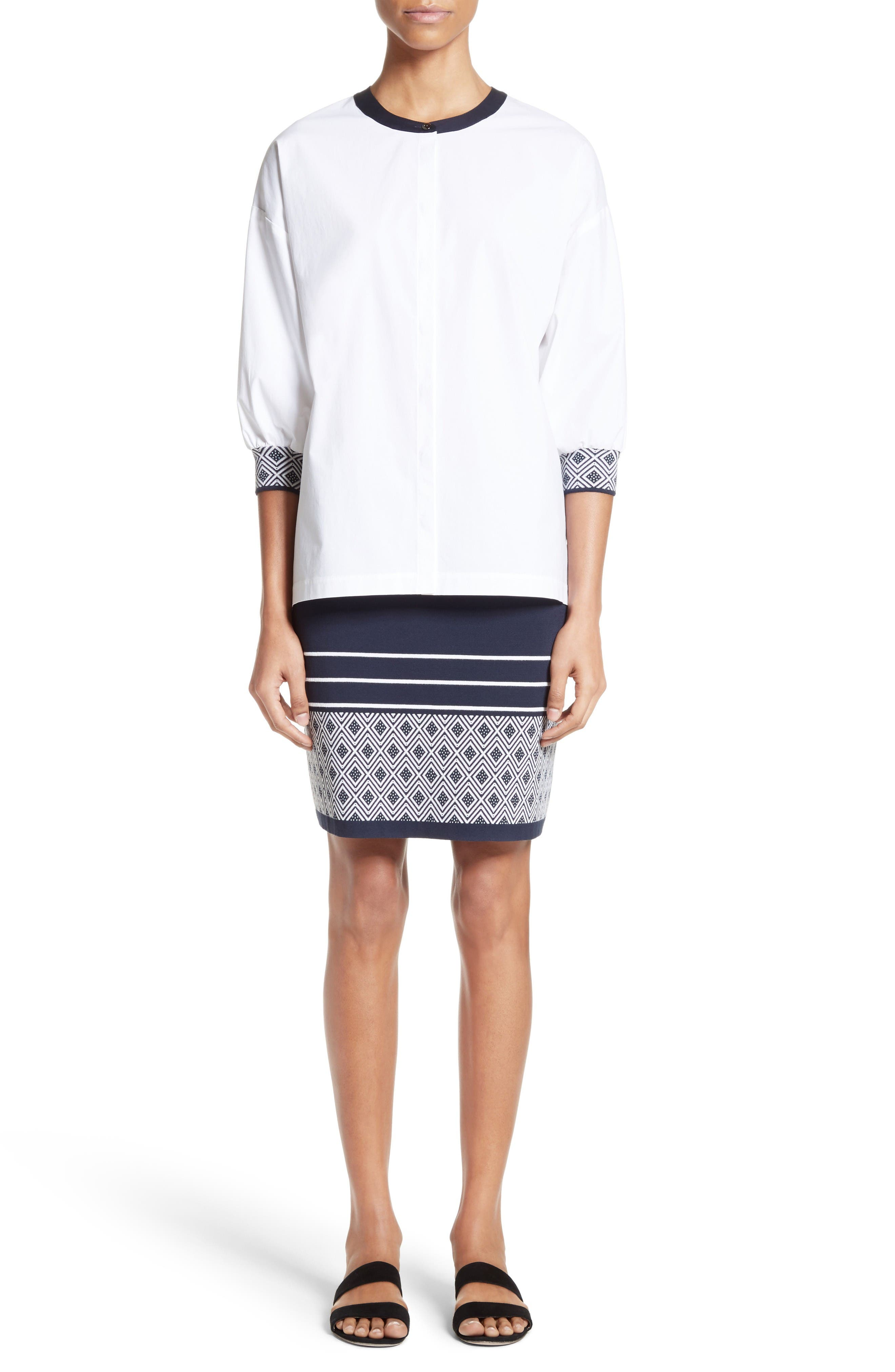 St. John Collection Shirt & Skirt Outfit with Accessories