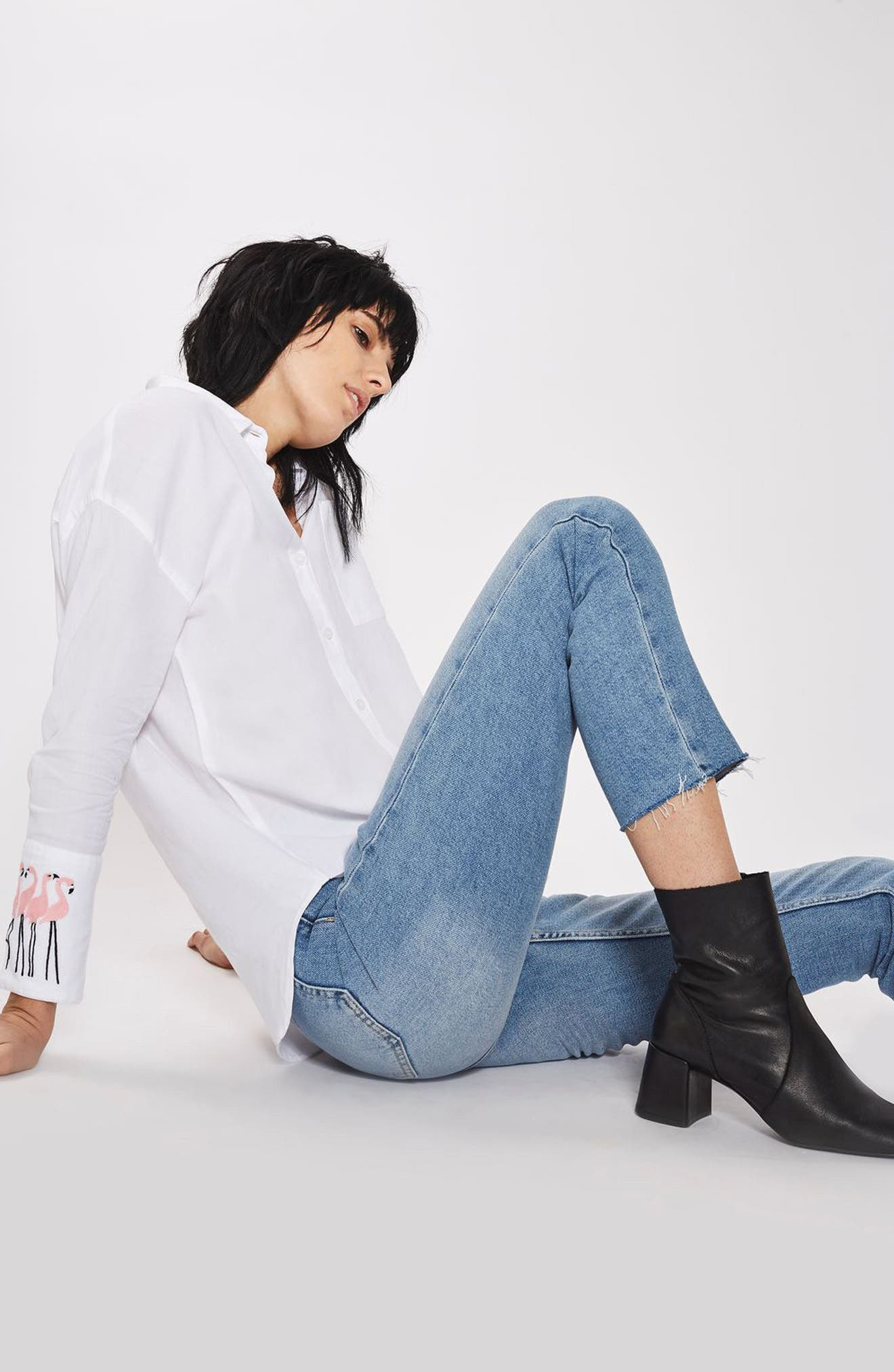 Alternate Image 2  - Topshop Raw Hem Straight Leg Jeans