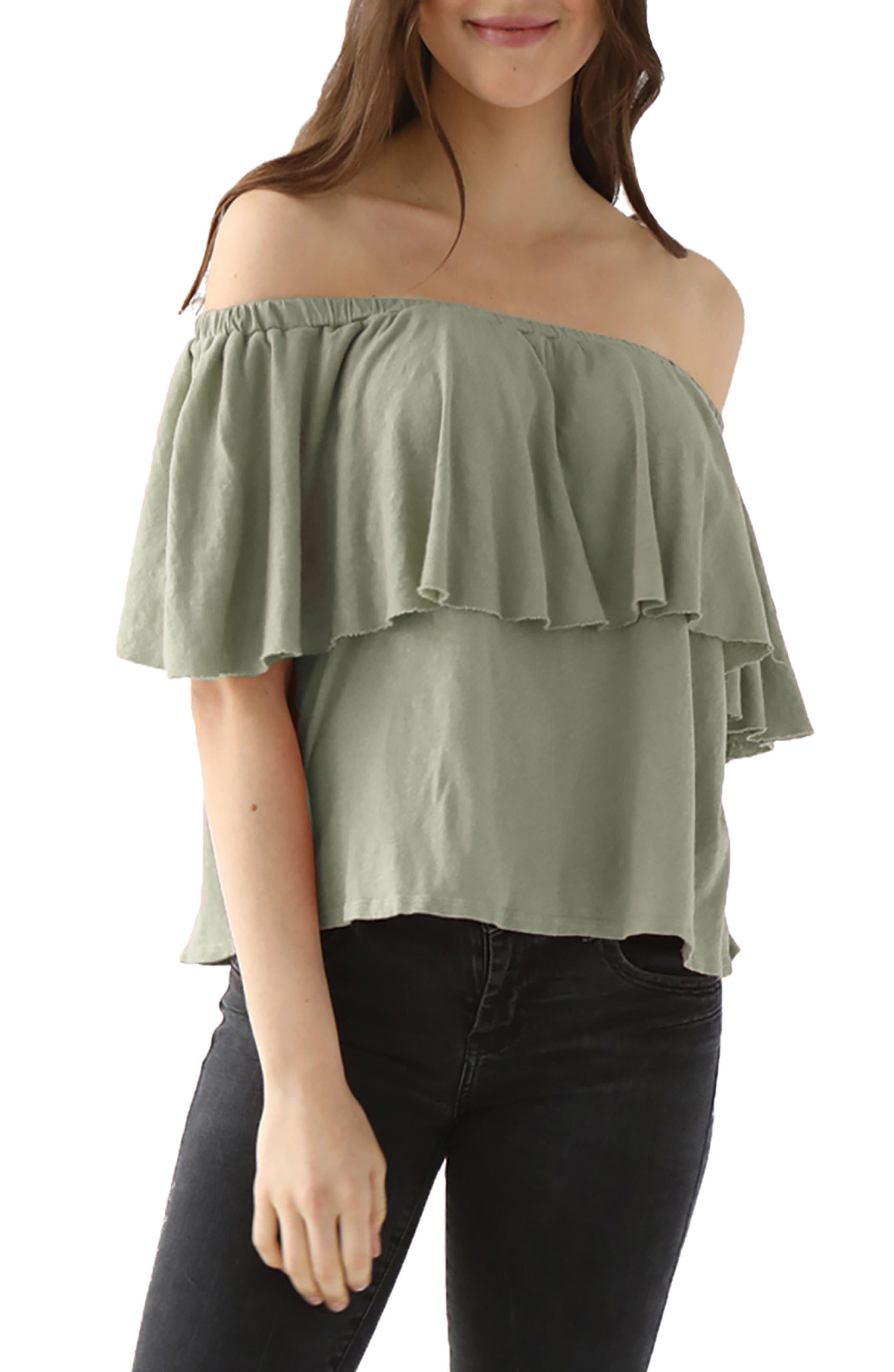 LAmade Rosane Cotton Linen Blend Off the Shoulder Top