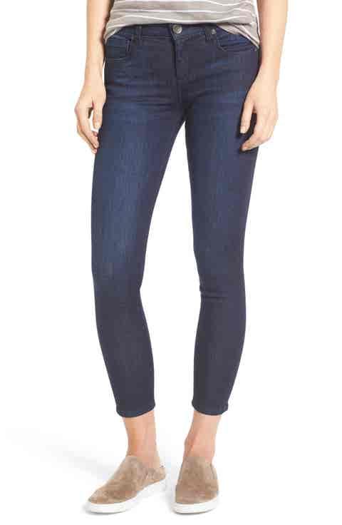 KUT from the Kloth Brigitte Stretch Skinny Crop Jeans (Royal) (Regular   Petite)