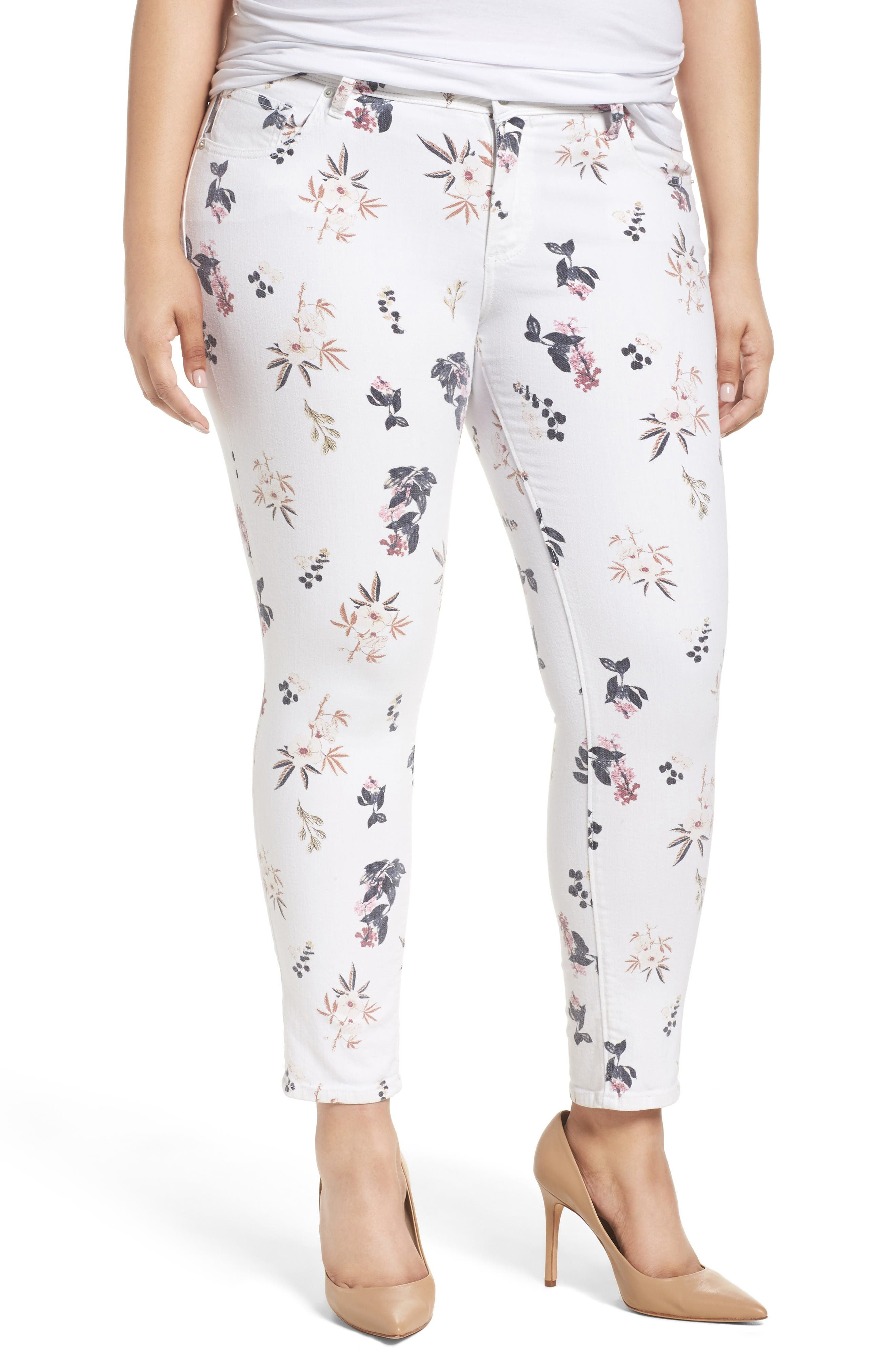 Alternate Image 1 Selected - Lucky Brand Ginger Floral Print Skinny Jeans (Plus Size)