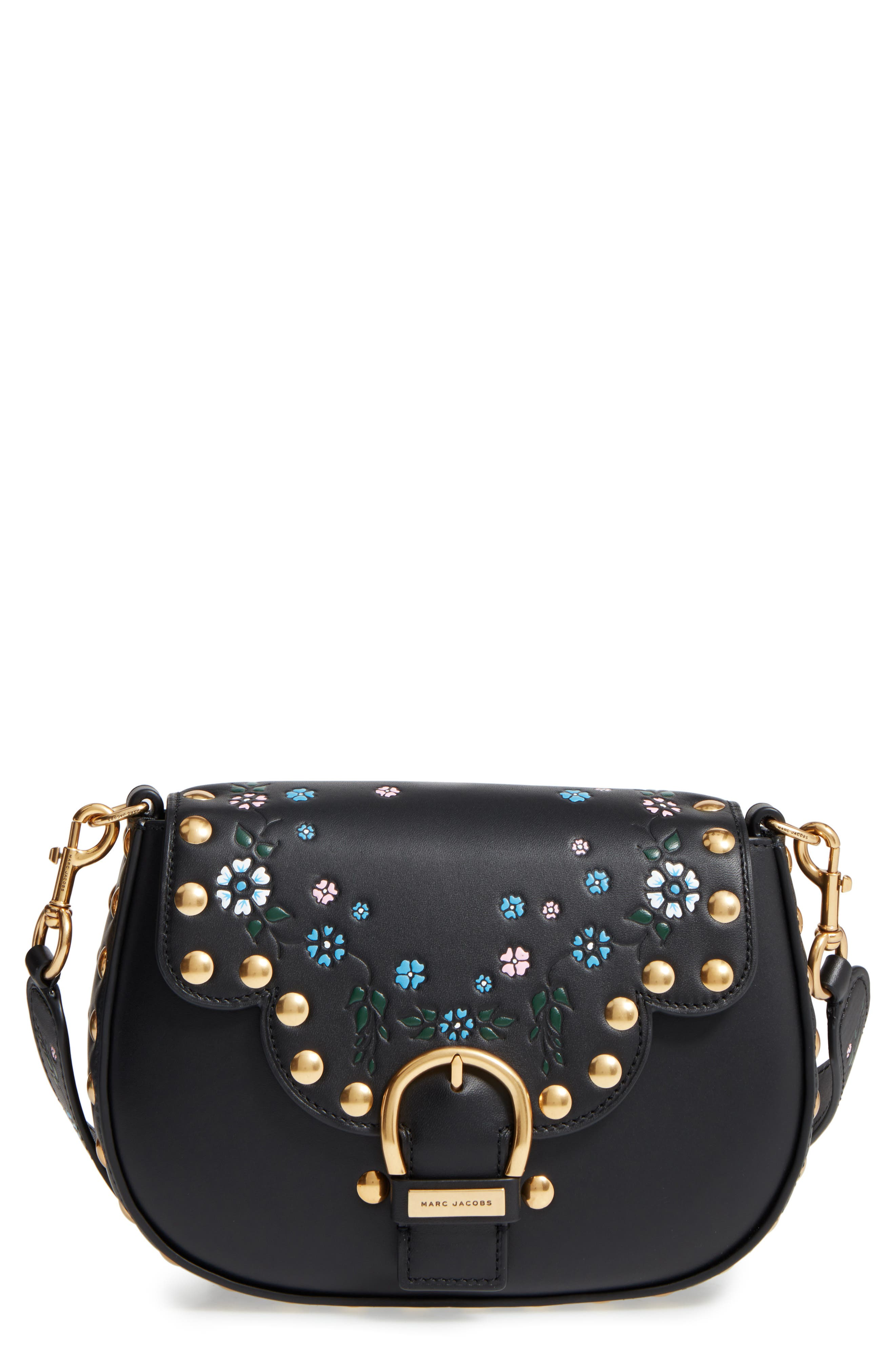 Alternate Image 1 Selected - MARC JACOBS Studded Navigator Leather Crossbody Bag