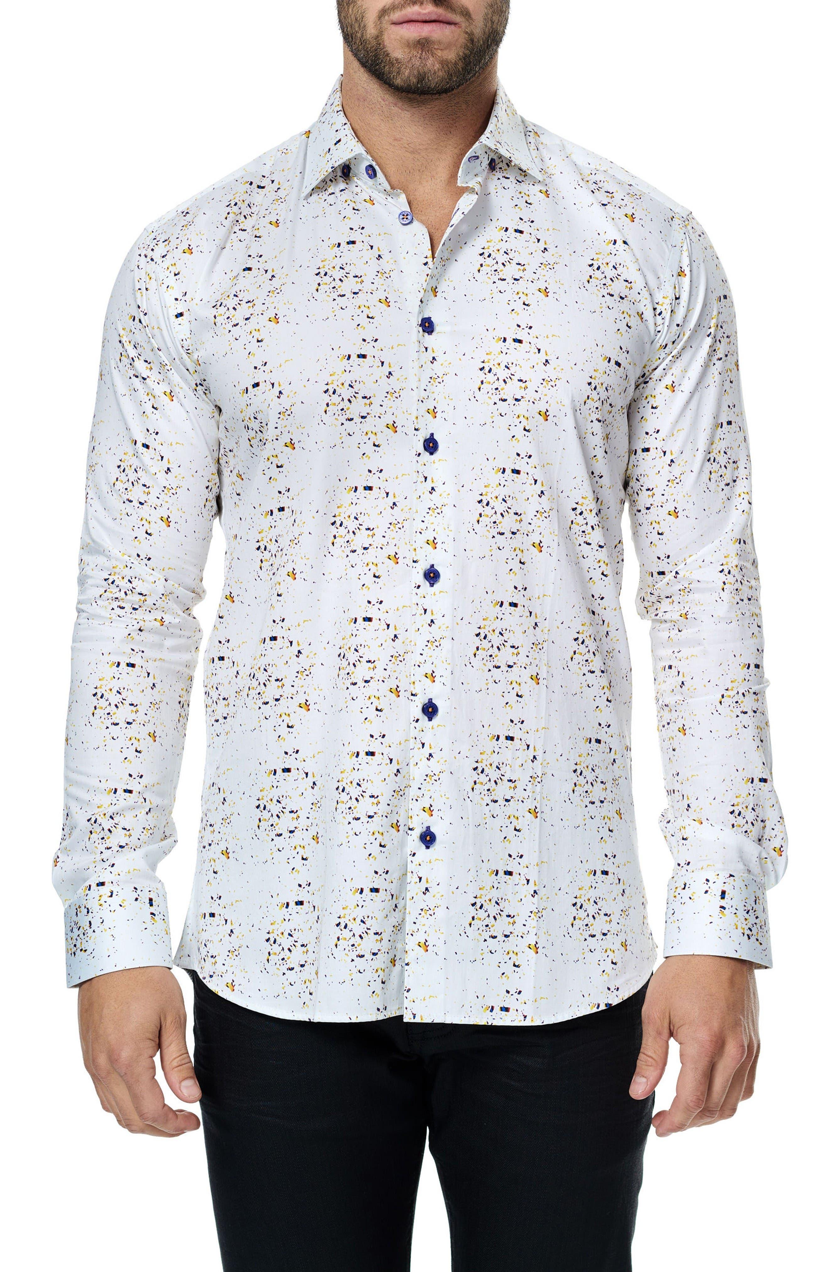 Maceoo Luxor Splatter Print Sport Shirt