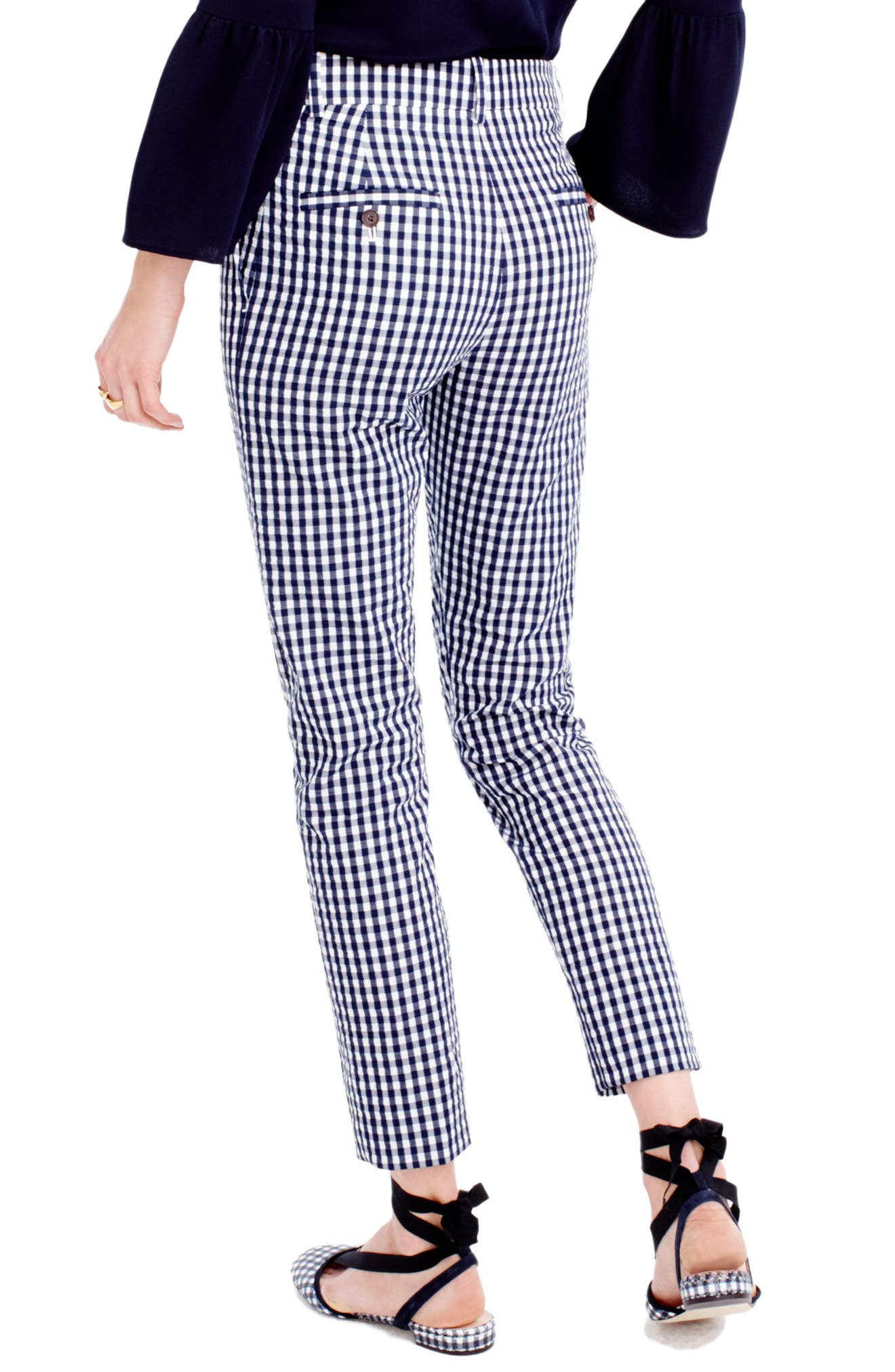 Alternate Image 2  - J.Crew Puckered Gingham Cigarette Pants