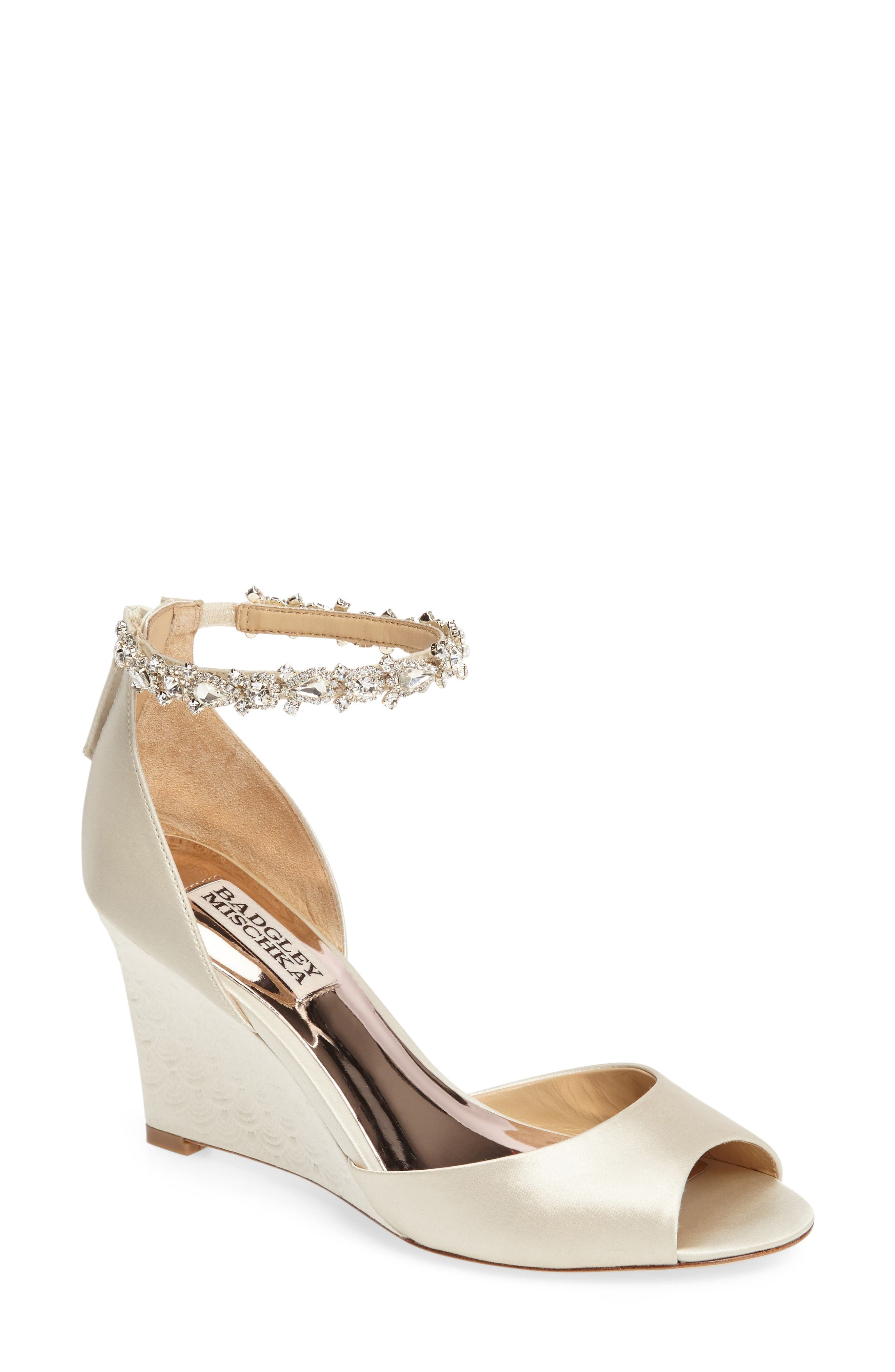 Badgley Mischka Tahlia Crystal Ankle Strap Sandal (Women)