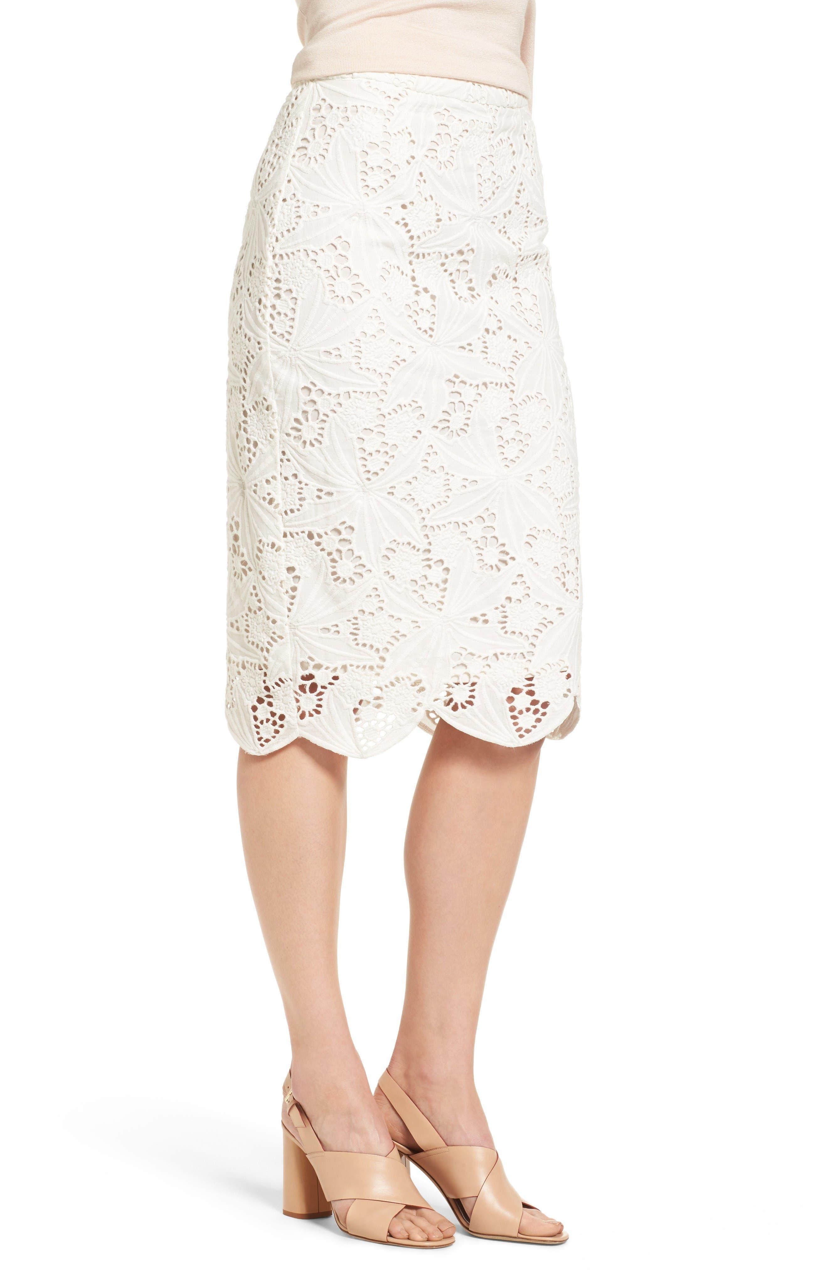 Alternate Image 4  - Halogen® Scalloped Lace Pencil Skirt (Regular & Petite)
