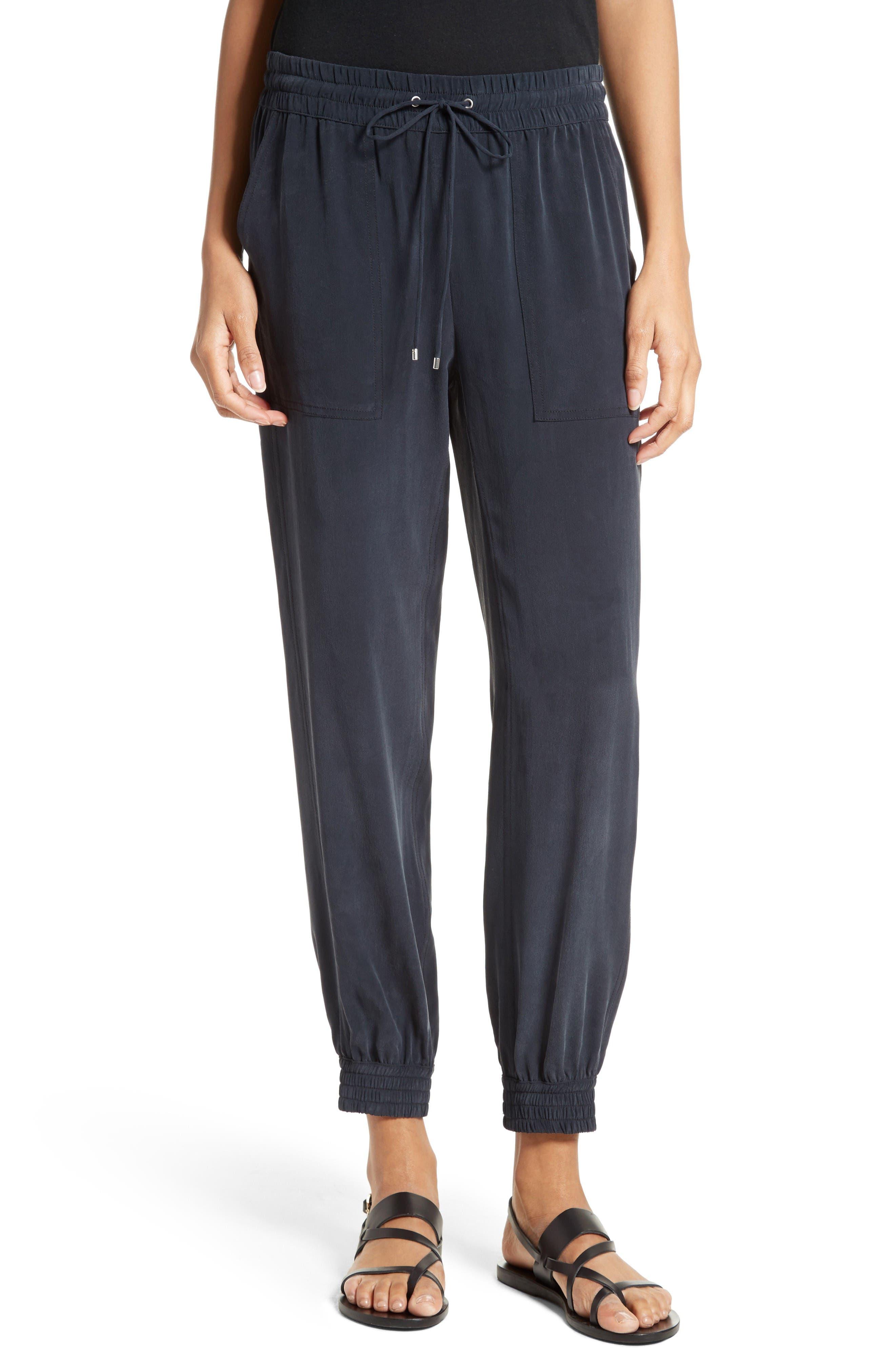 THEORY Cortlandt Silk Jogger Pants
