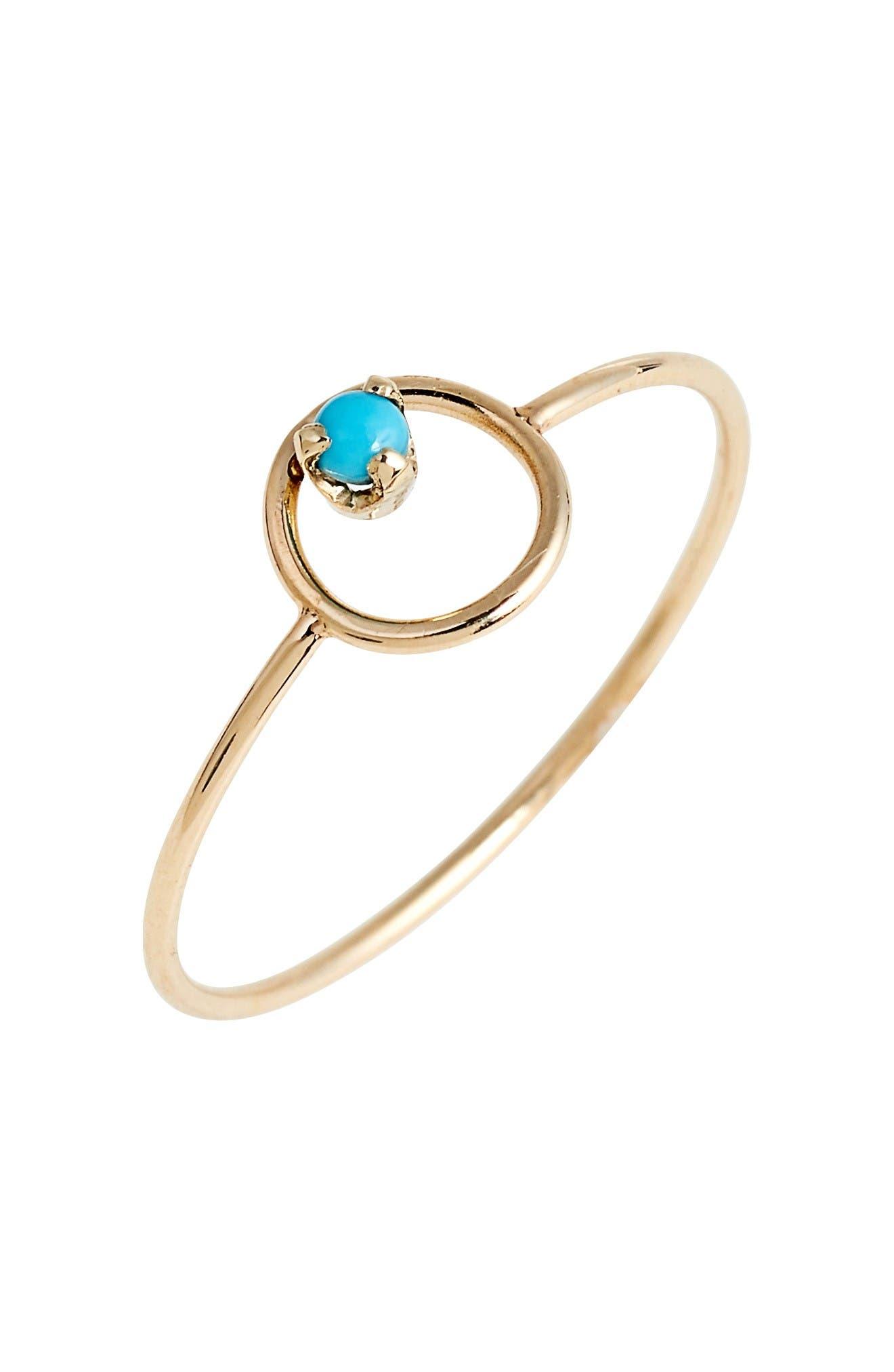 Main Image - Zoë Chicco Turquoise Circle Ring
