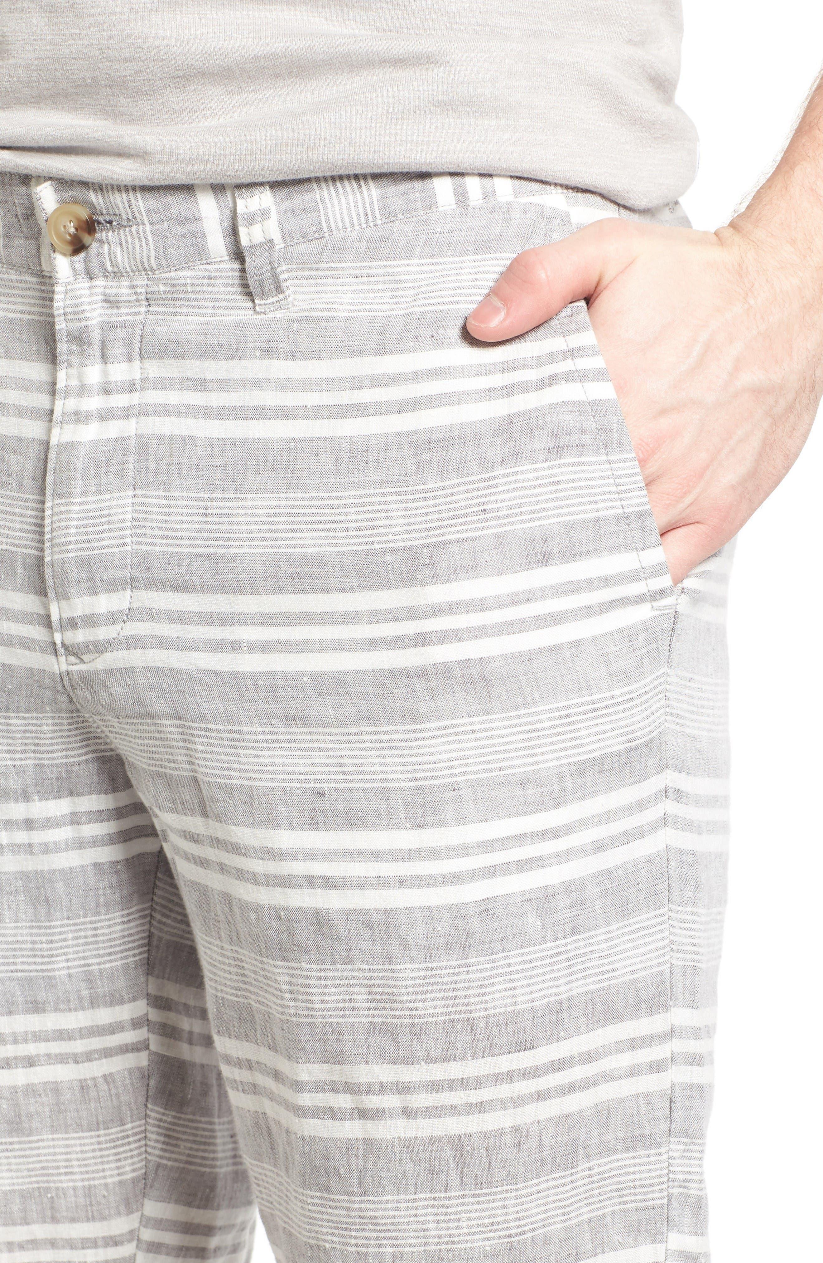 Alternate Image 4  - 1901 Stripe Linen Shorts
